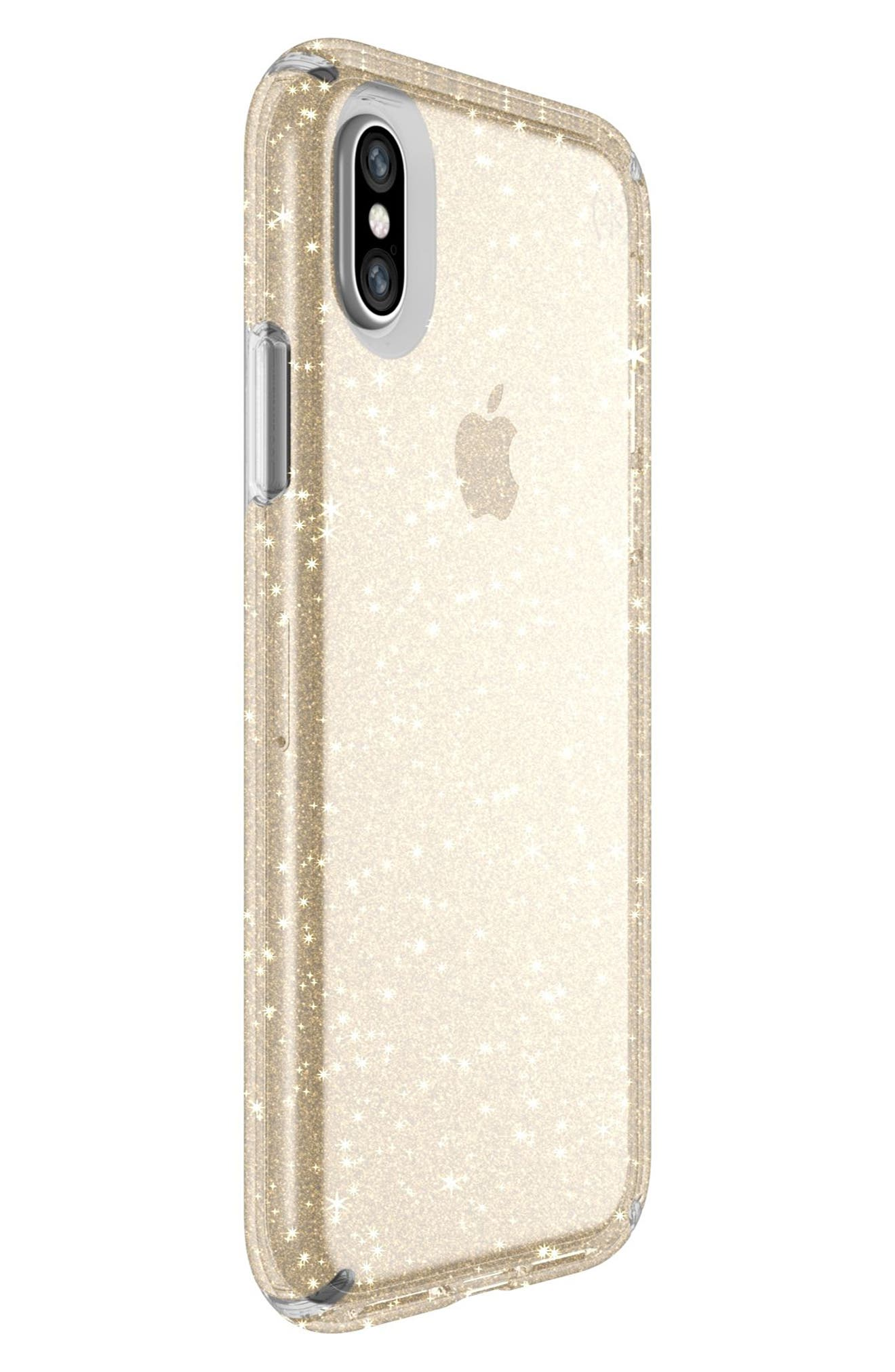 Transparent iPhone X Case,                             Alternate thumbnail 2, color,                             Clear With Gold Glitter/ Clear