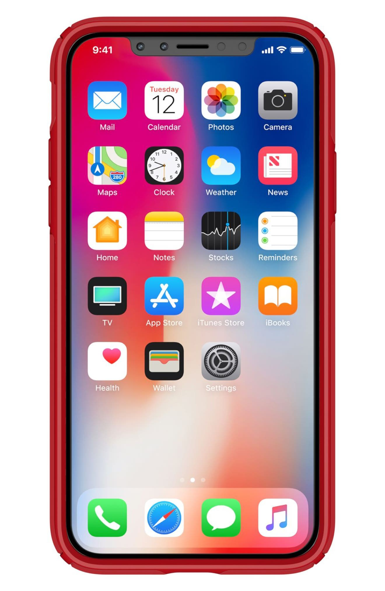 Transparent iPhone X Case,                             Alternate thumbnail 8, color,                             Clear/ Heartthrob Red