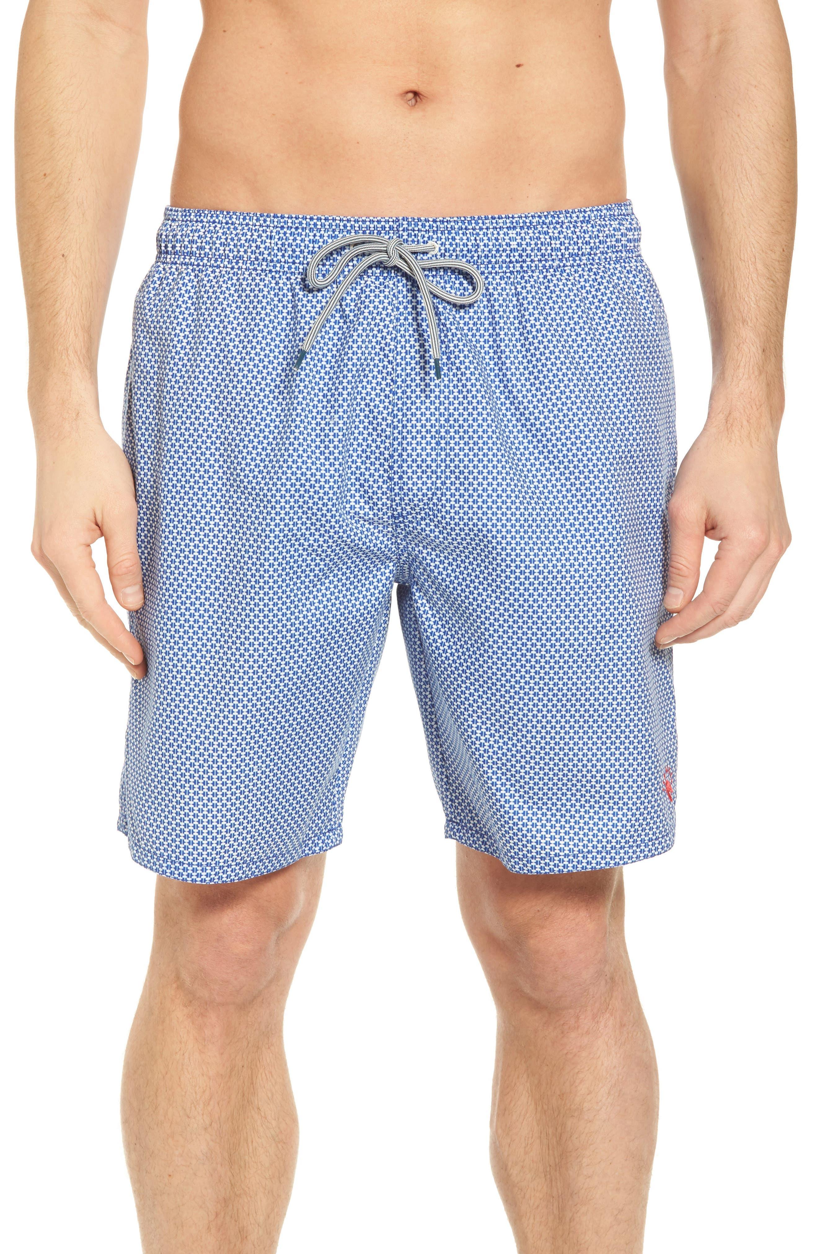 Larkman Geo Print Swim Shorts,                             Main thumbnail 1, color,                             Light Blue
