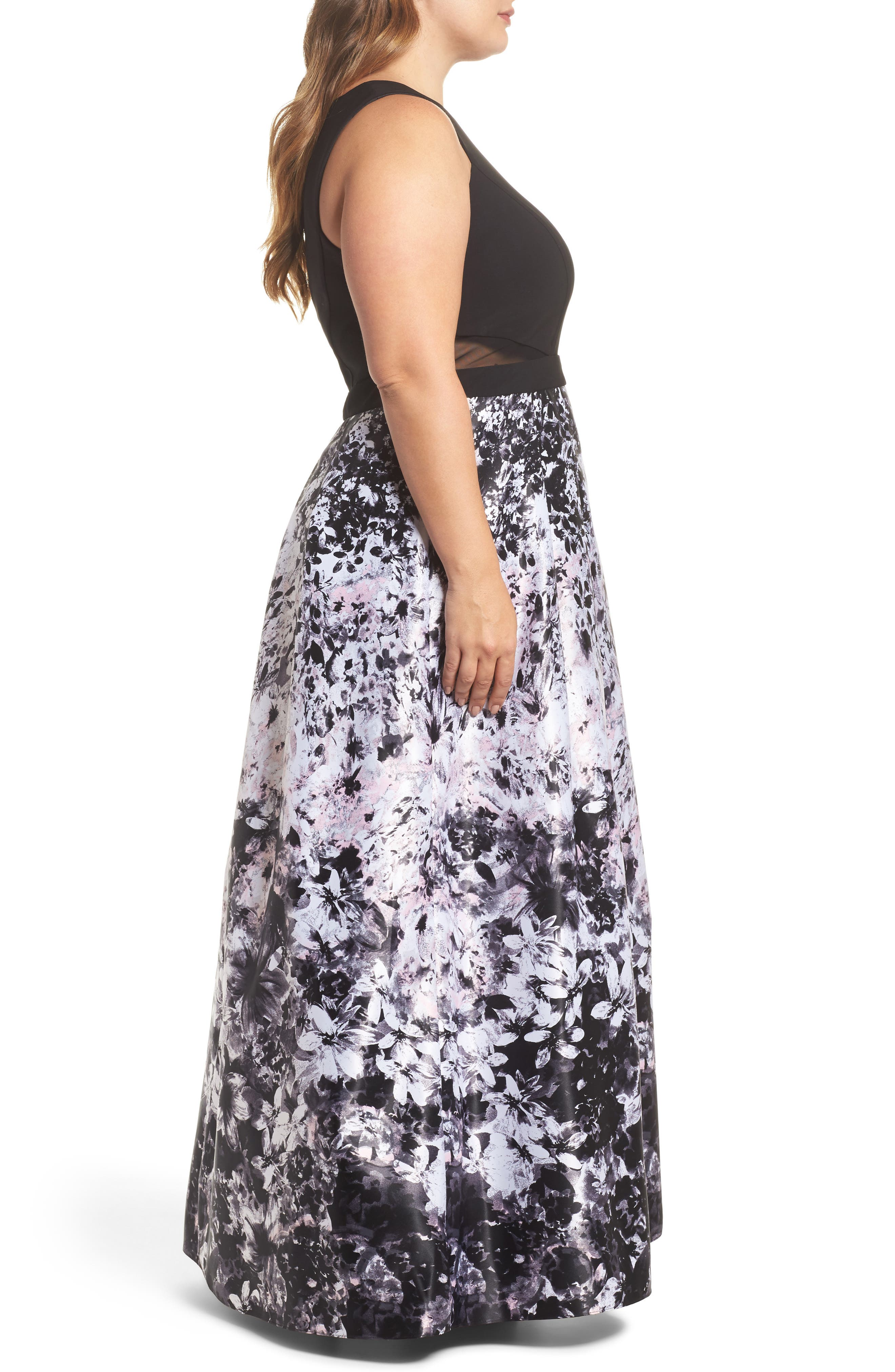 Floral Print Ballgown,                             Alternate thumbnail 3, color,                             Black/ Pink