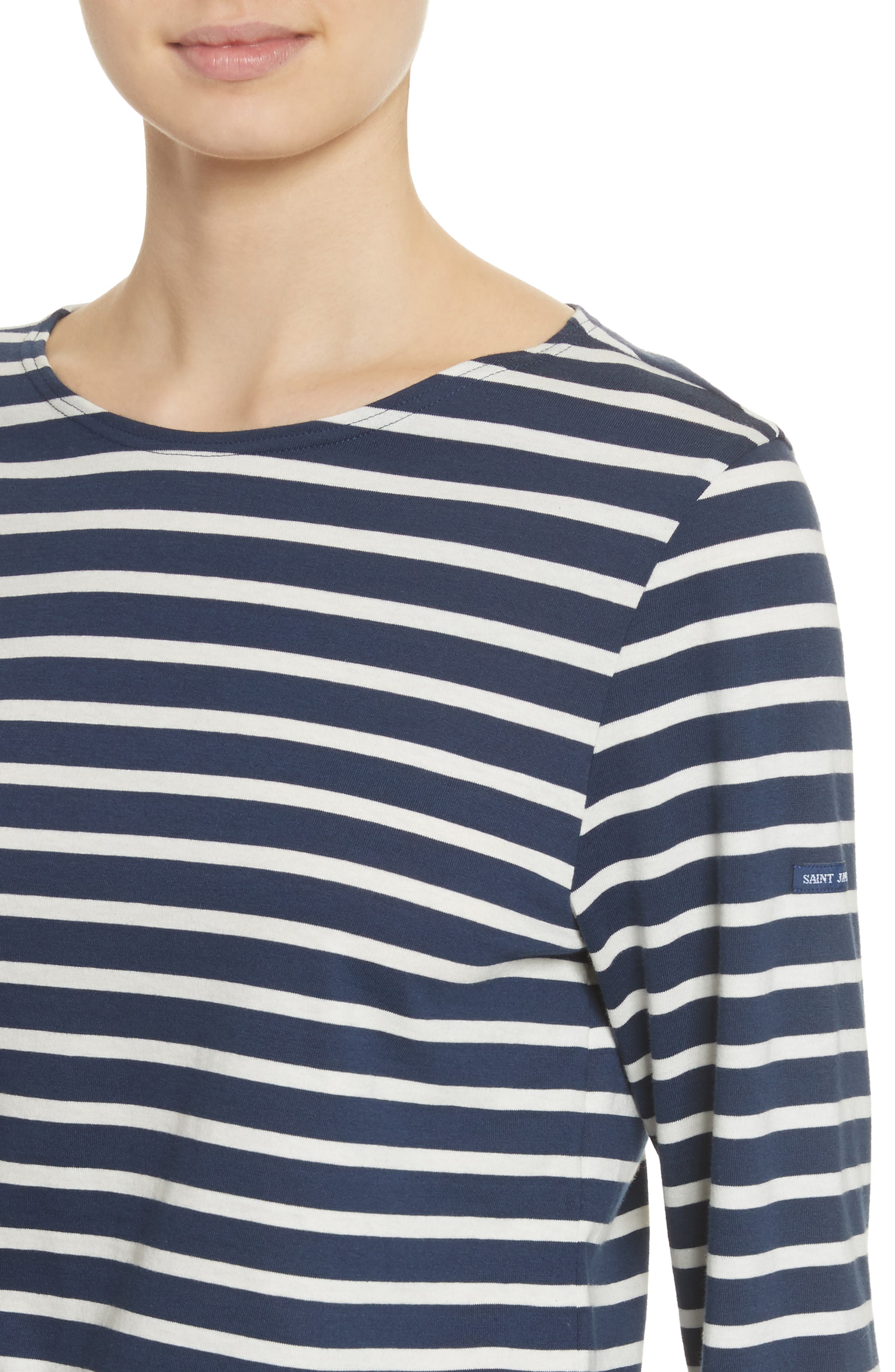 Minquiers Moderne Striped Sailor Shirt,                             Alternate thumbnail 5, color,                             Navy/ Off White