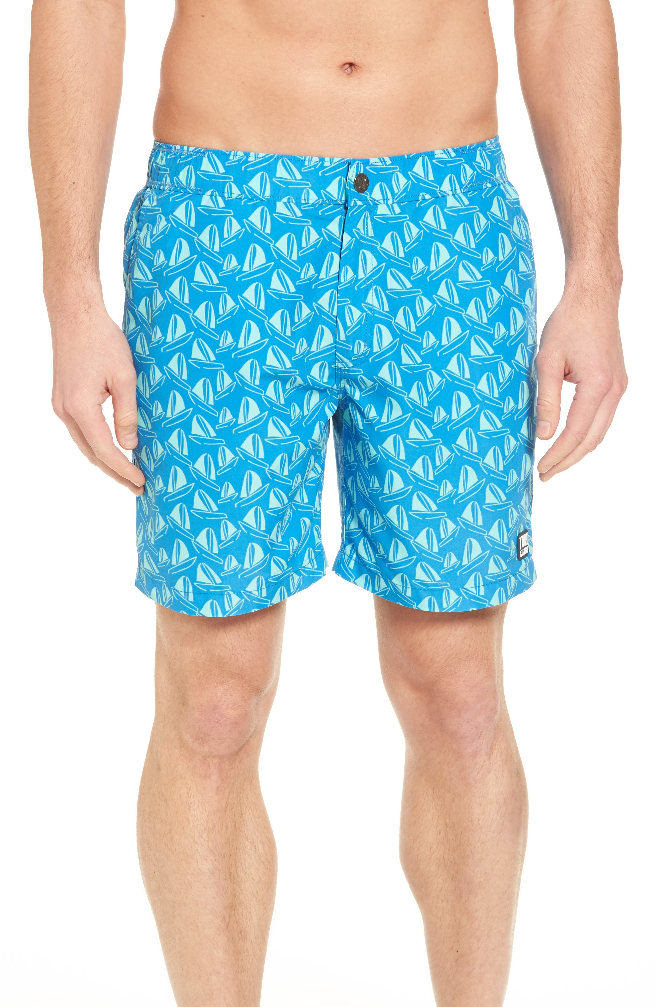 Boat Print Swim Trunks,                         Main,                         color, French Blue And Sky