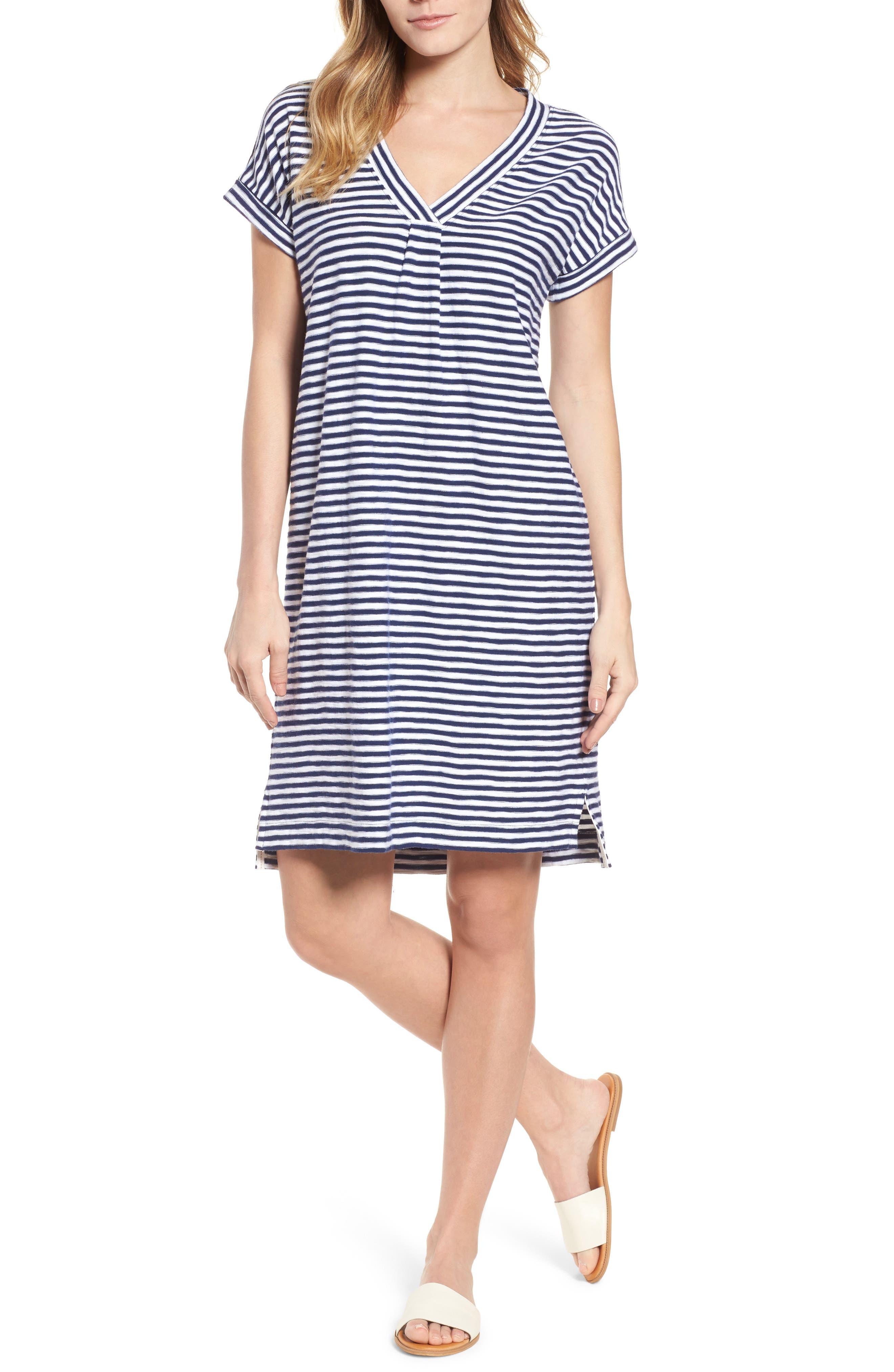 Stripe V-Neck Shirtdress,                         Main,                         color, Deep Bay