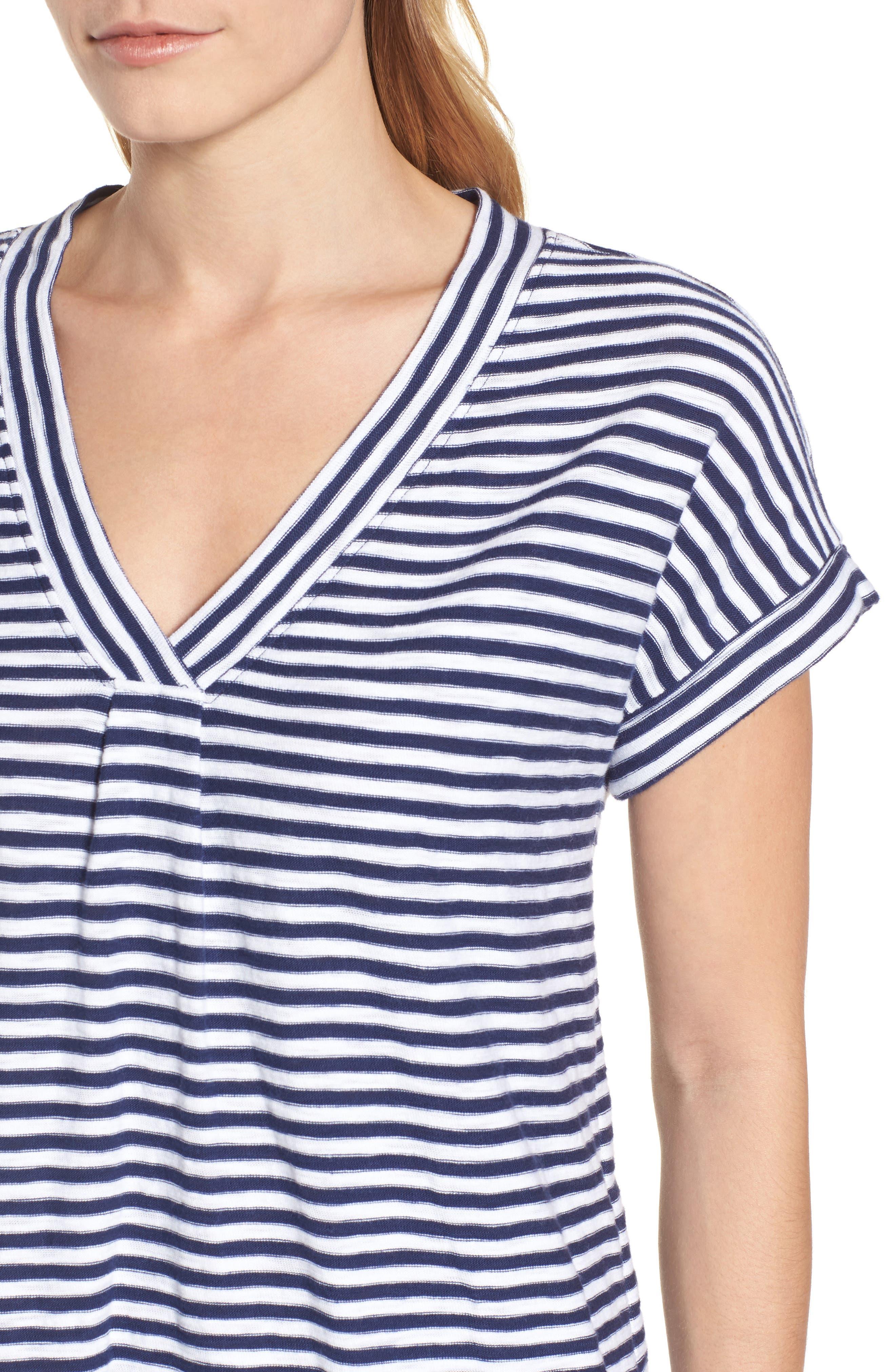 Stripe V-Neck Shirtdress,                             Alternate thumbnail 4, color,                             Deep Bay