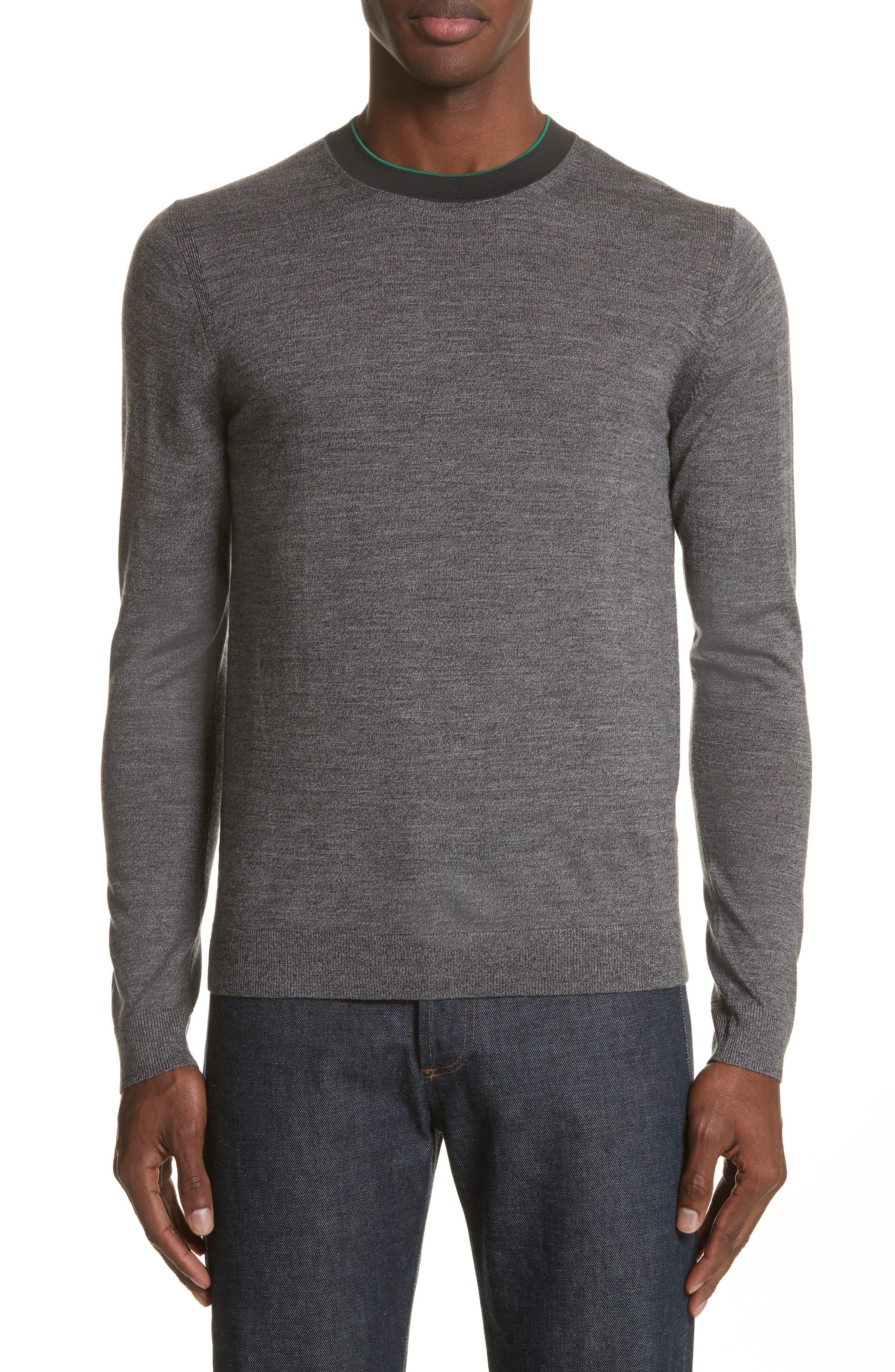 Crewneck Merino Wool Blend Sweater,                             Main thumbnail 1, color,                             Grey
