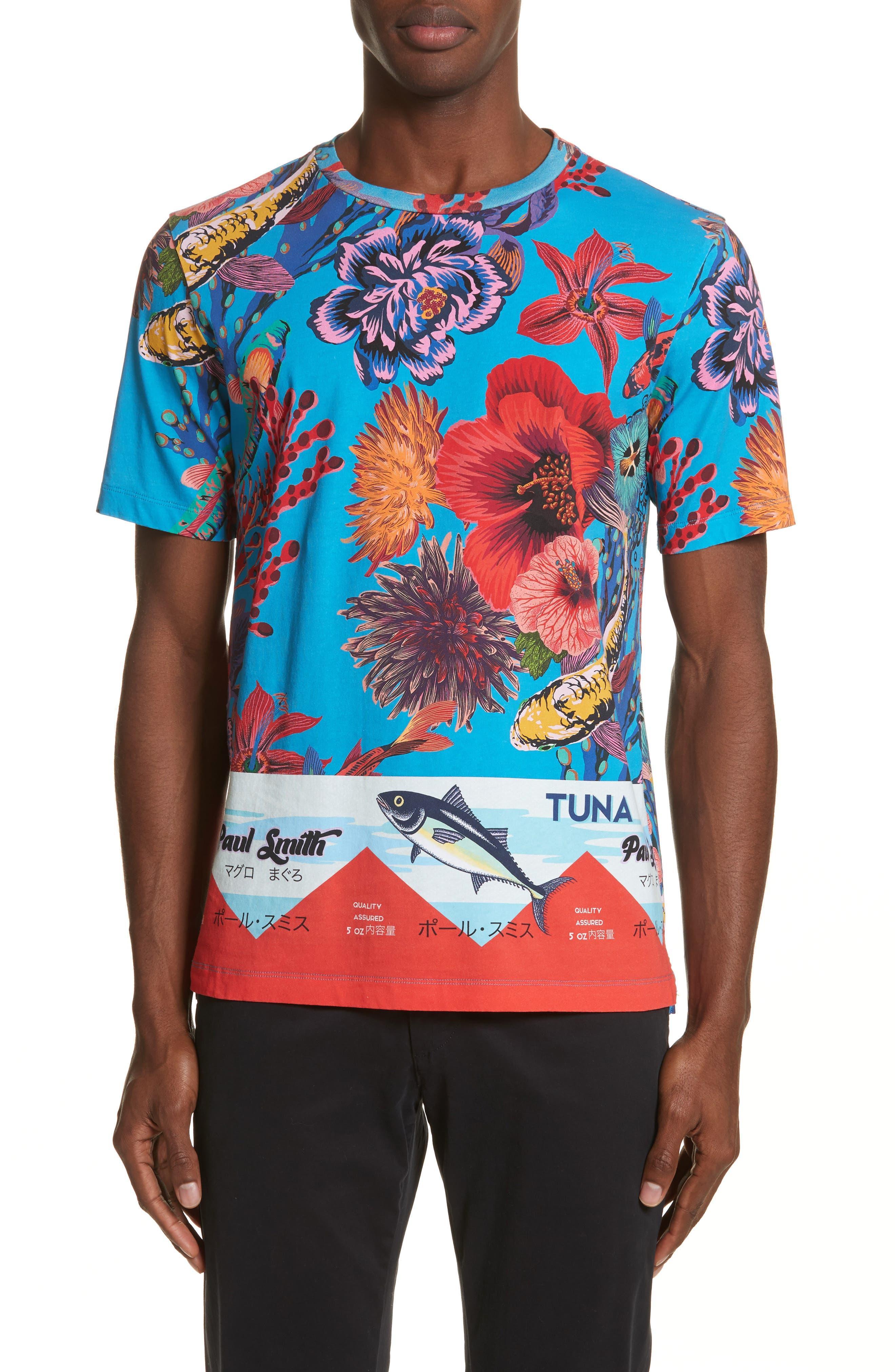 Fish Print T-Shirt,                         Main,                         color, 41 Blue Multi