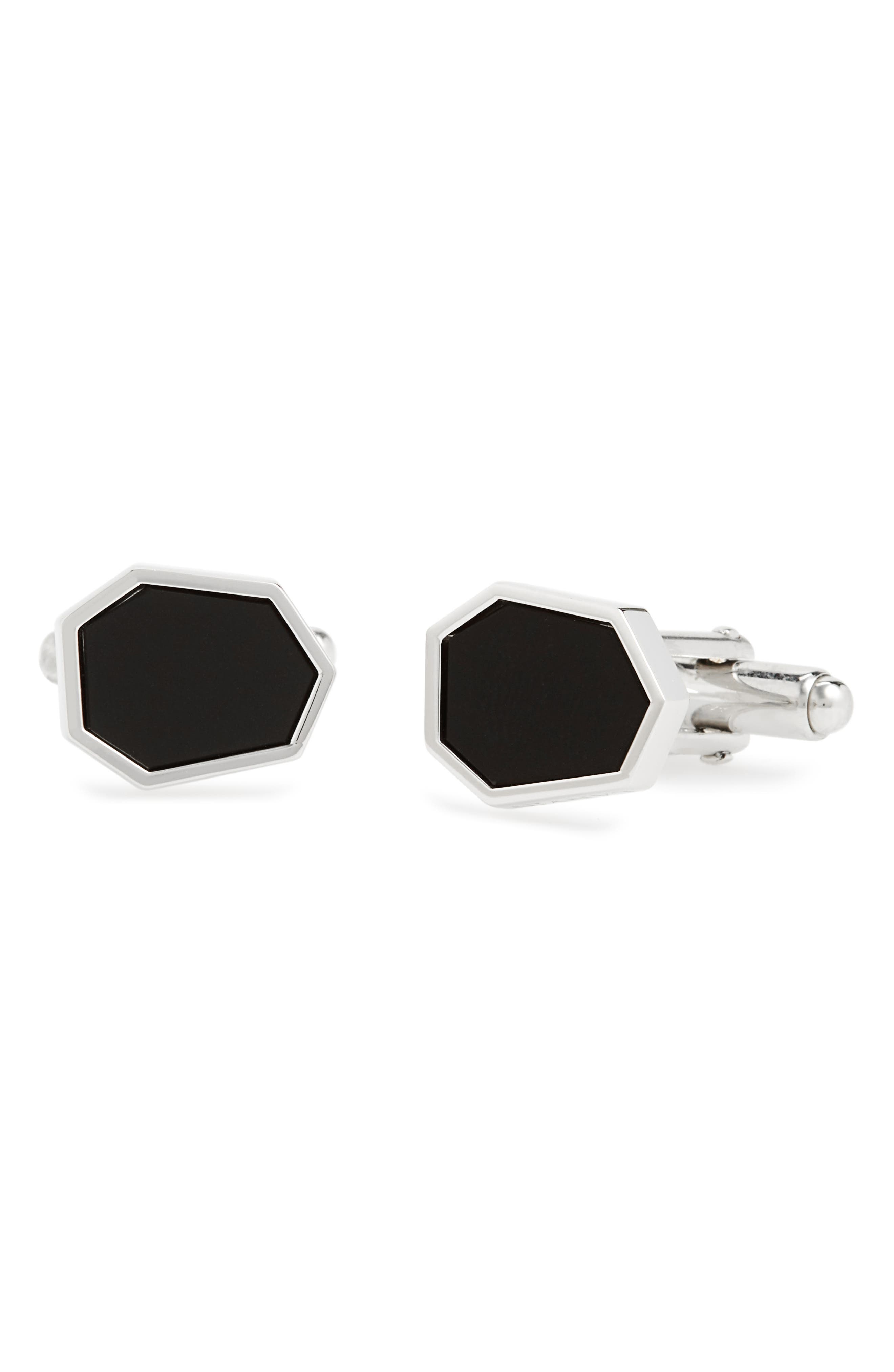 Polygon Onyx Cuff Links,                             Main thumbnail 1, color,                             3 Rhodium