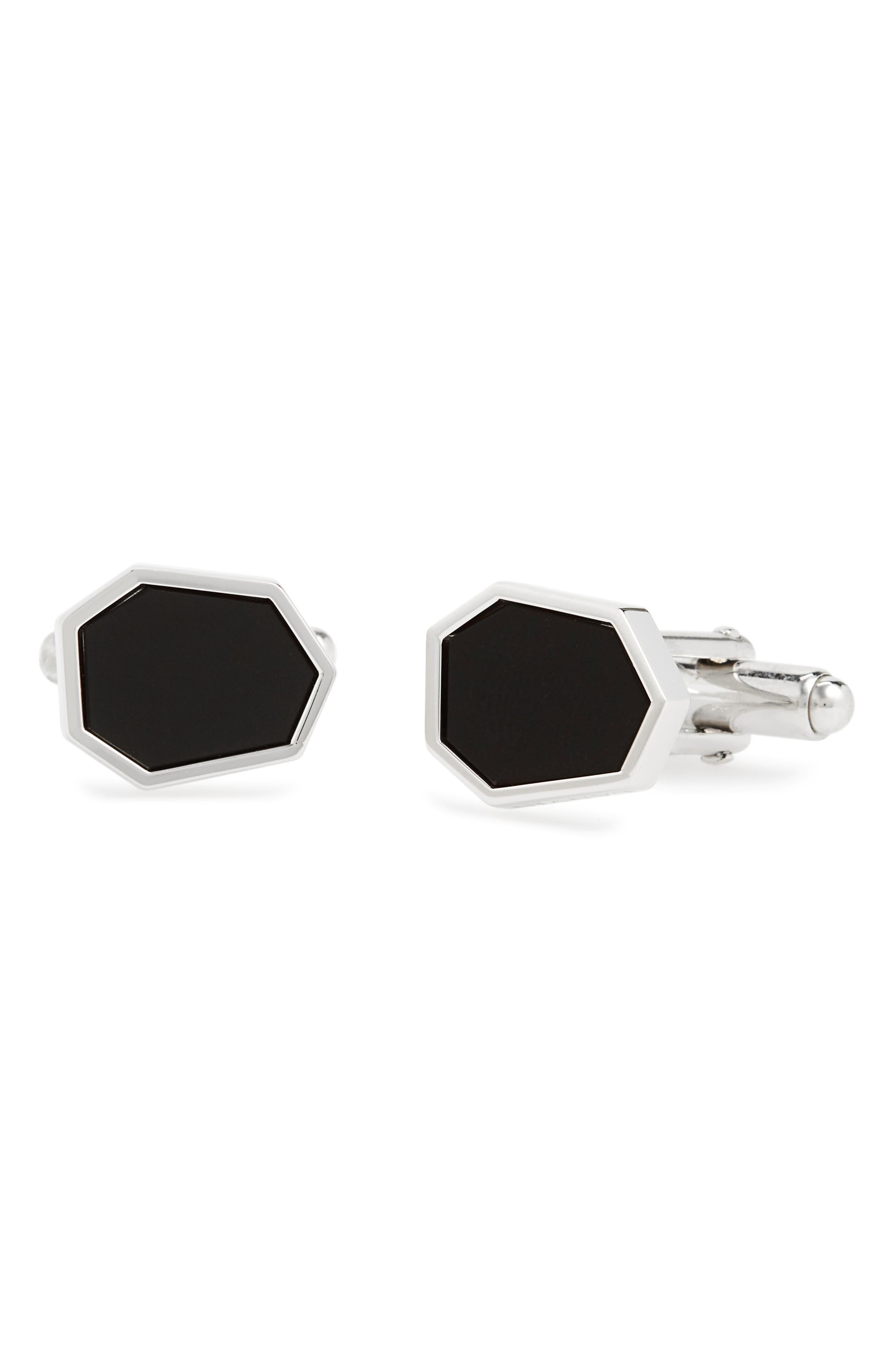 Polygon Onyx Cuff Links,                         Main,                         color, 3 Rhodium