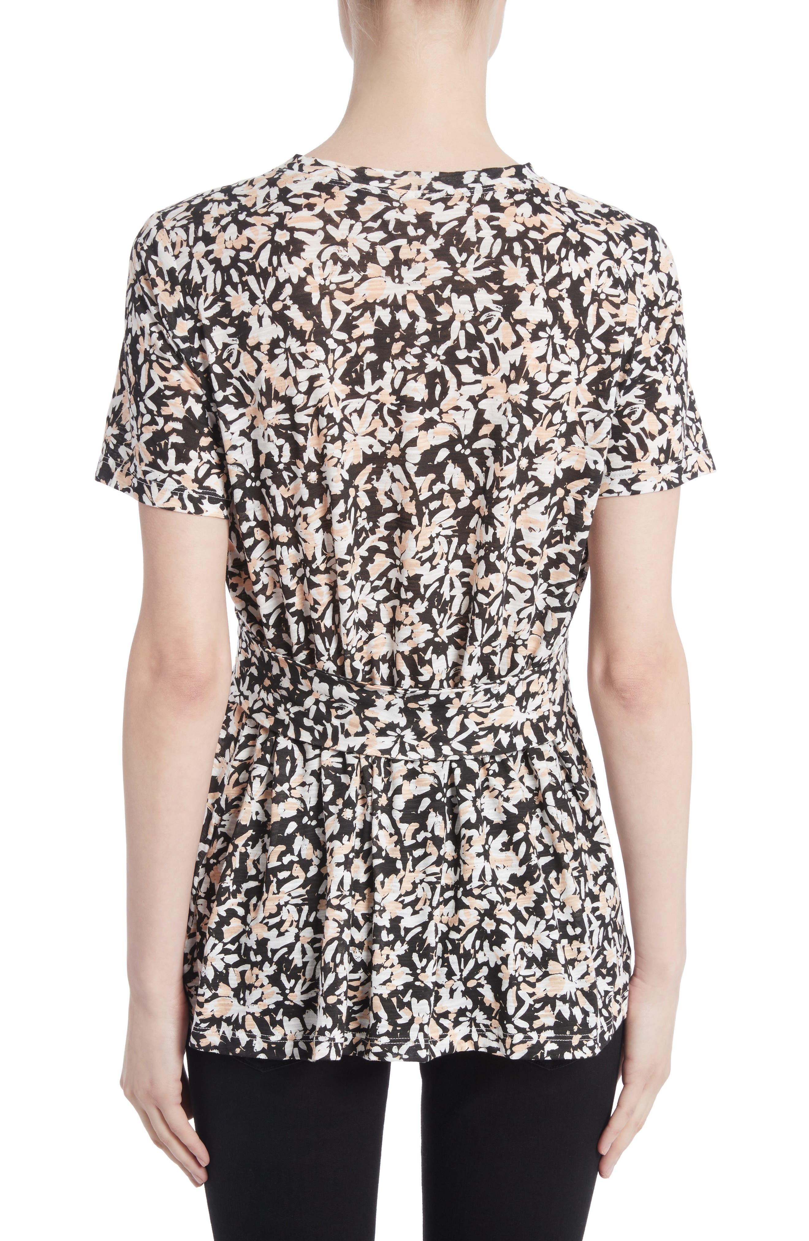 Band Detail Print Tissue Jersey Tee,                             Alternate thumbnail 2, color,                             Nude/ Black Painted Floral