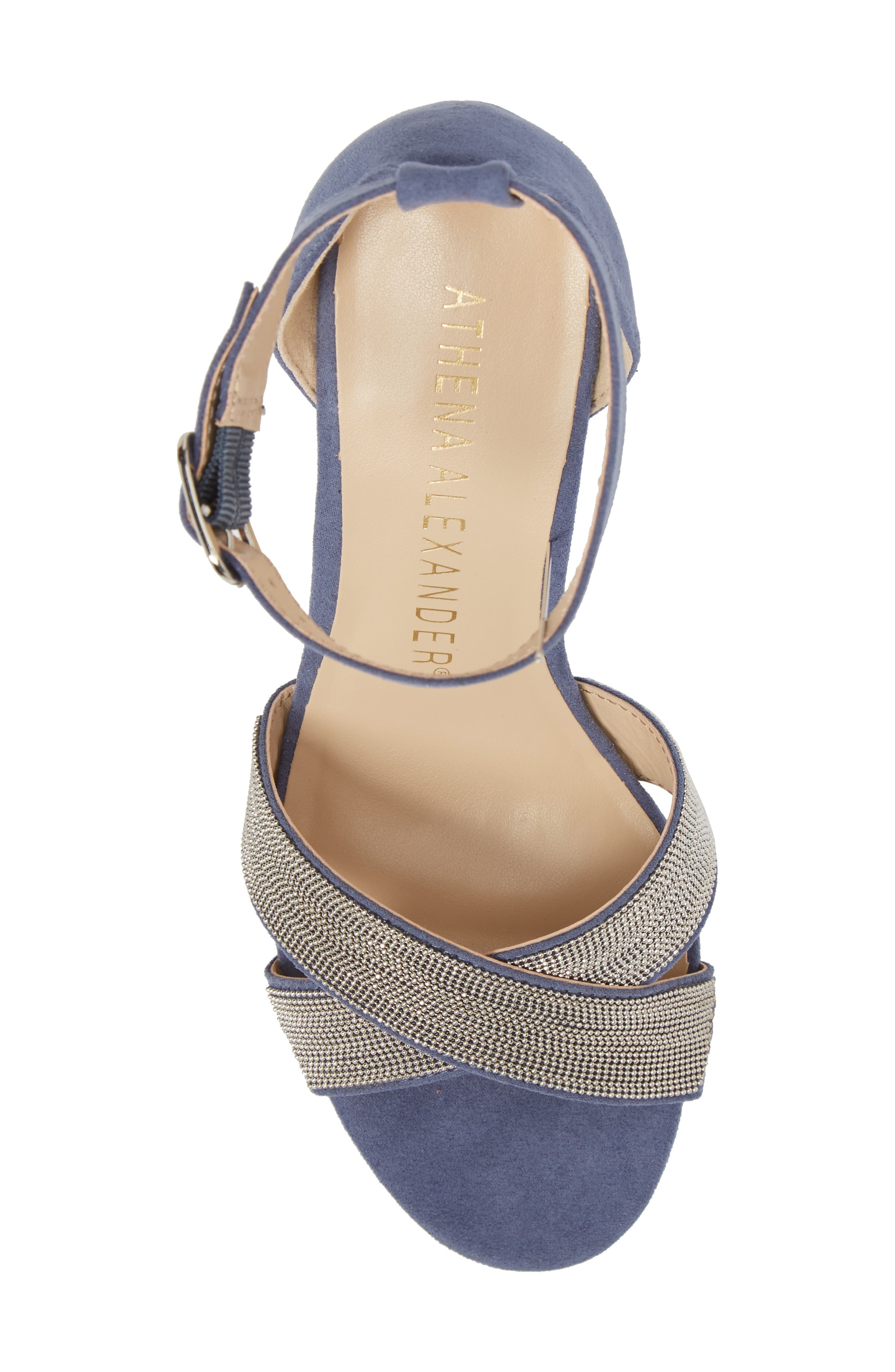 Zorra Wedge Sandal,                             Alternate thumbnail 5, color,                             Blue Suede