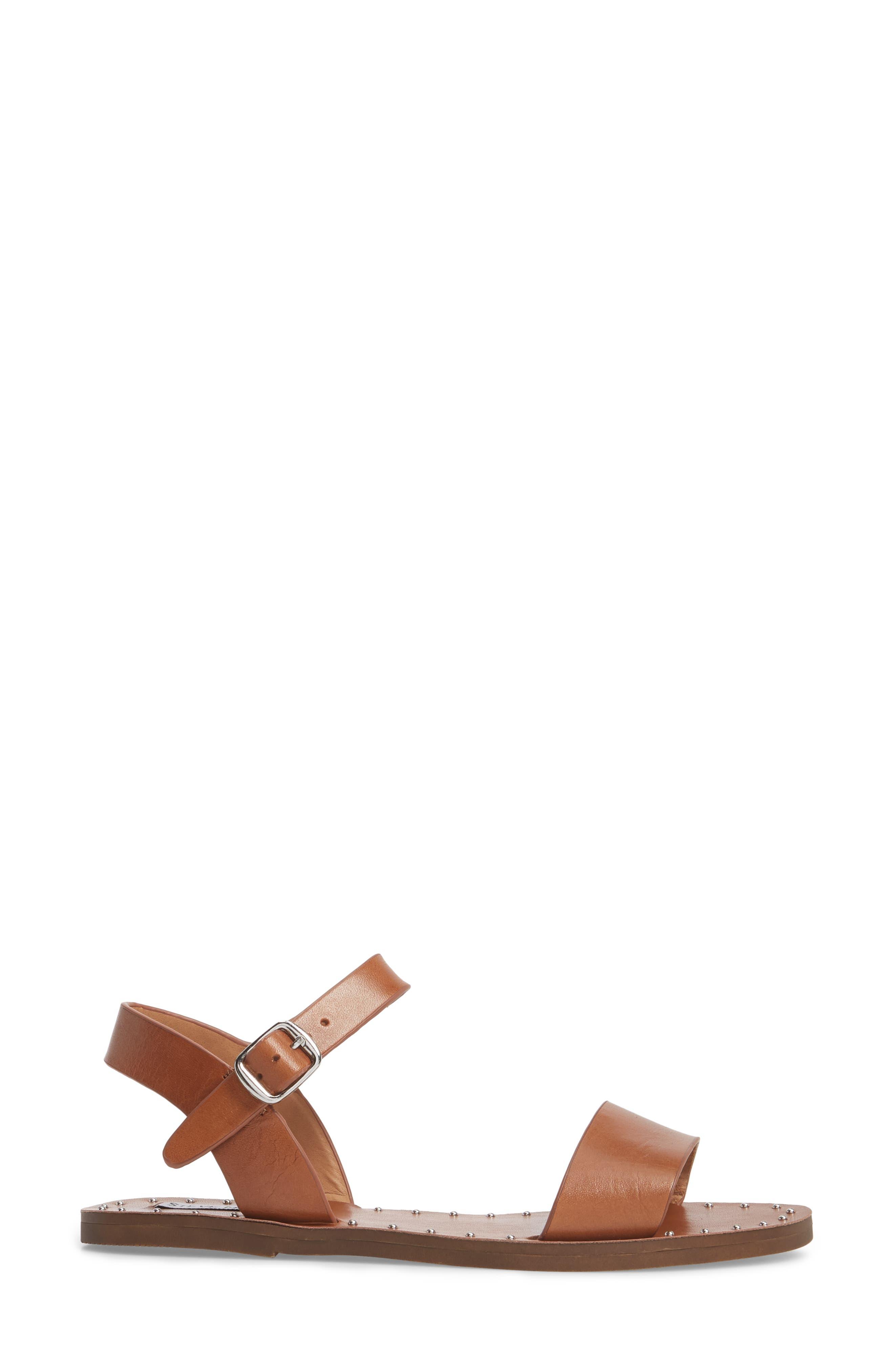 Dupe Sandal,                             Alternate thumbnail 3, color,                             Cognac Leather
