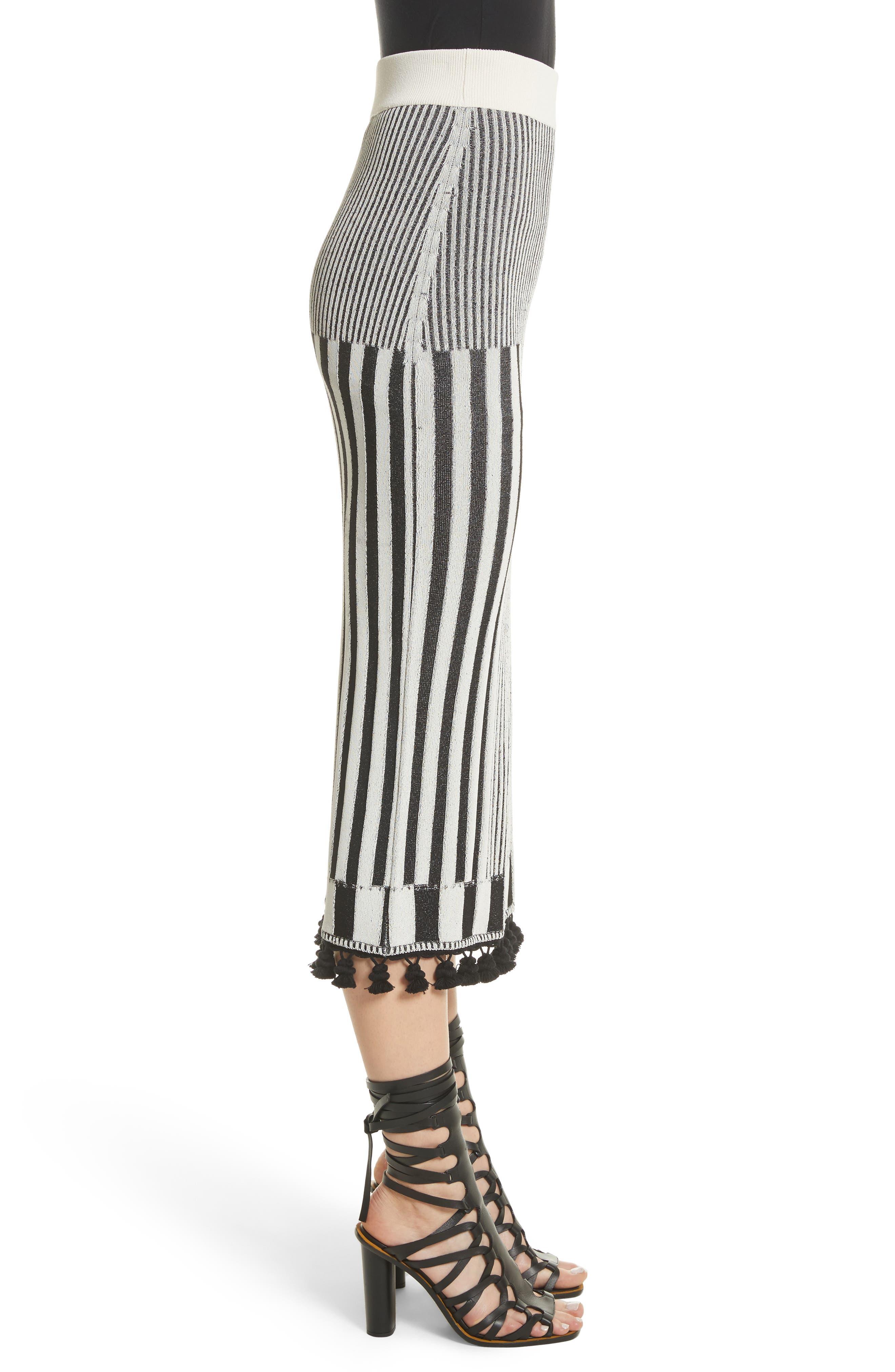 Tassel Trim Stripe Pencil Skirt,                             Alternate thumbnail 4, color,                             Black