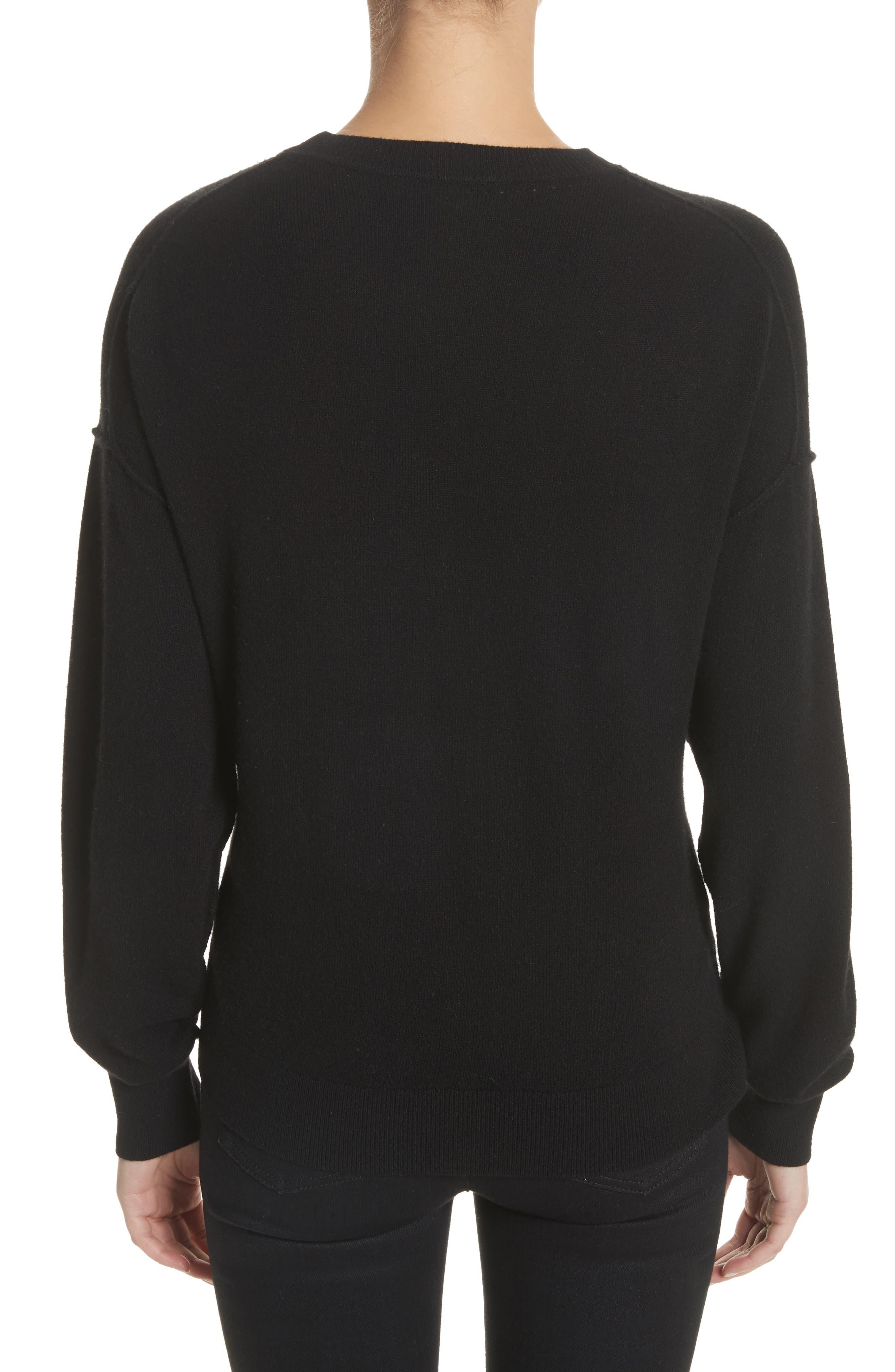 Zip Front Wool & Cashmere Blend Sweater,                             Alternate thumbnail 2, color,                             Black