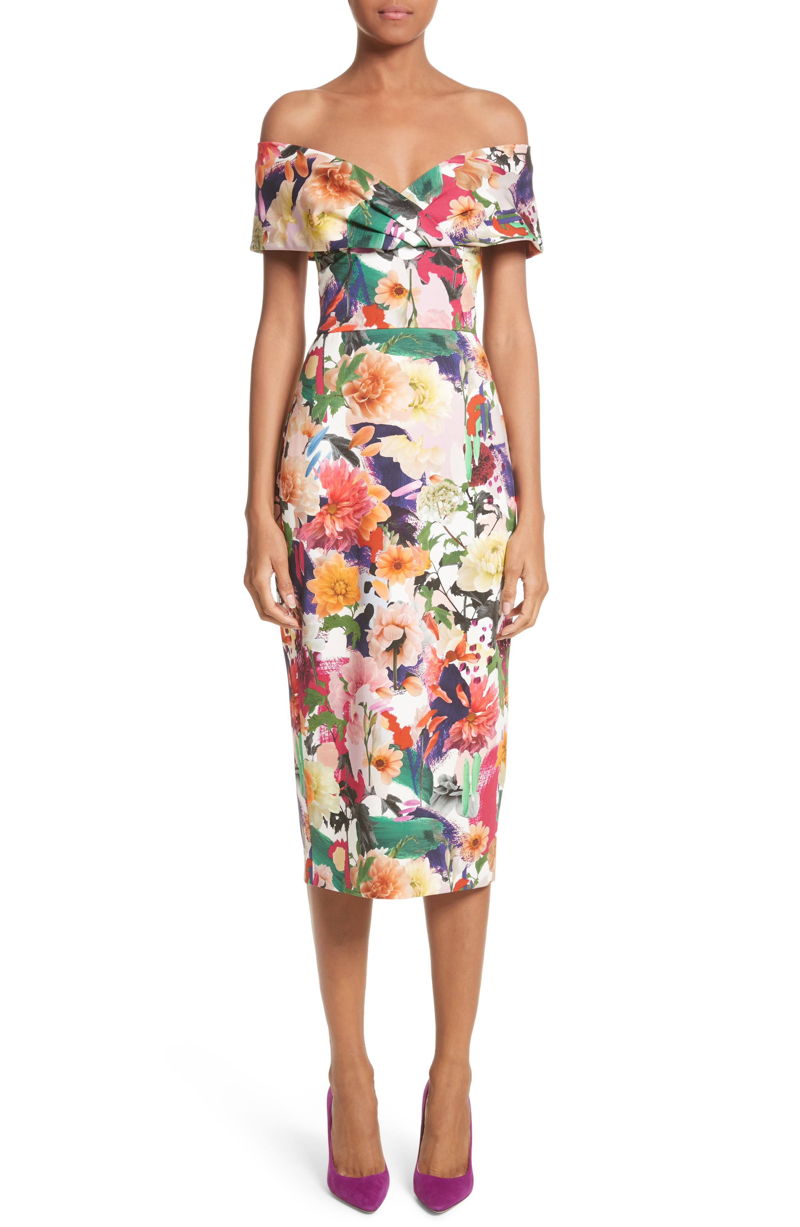 Cushnie et Ochs Floral Print Off the Shoulder Sheath Dress