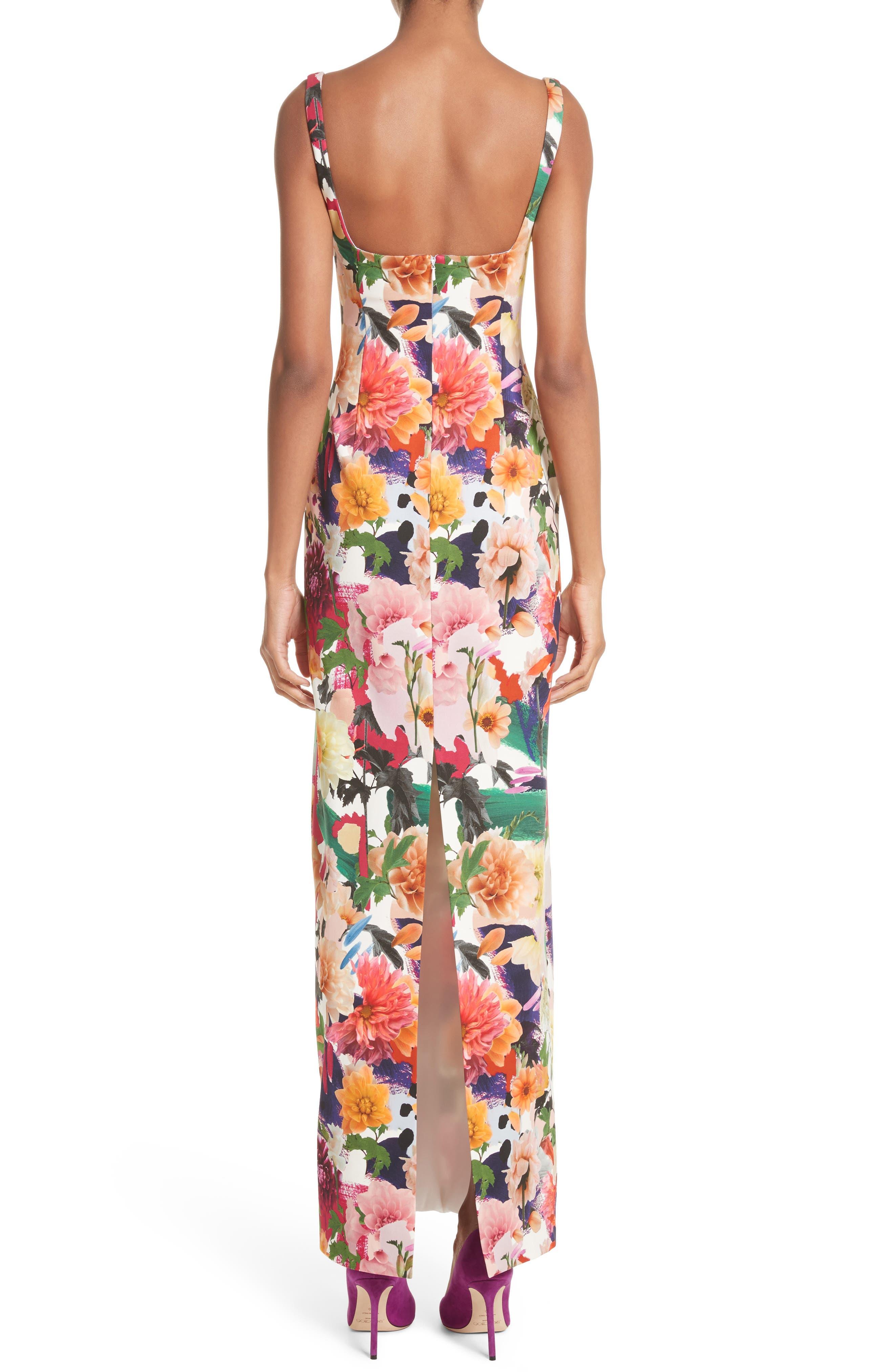 Floral Print Sheath Gown,                             Alternate thumbnail 2, color,                             Surrealist Floral