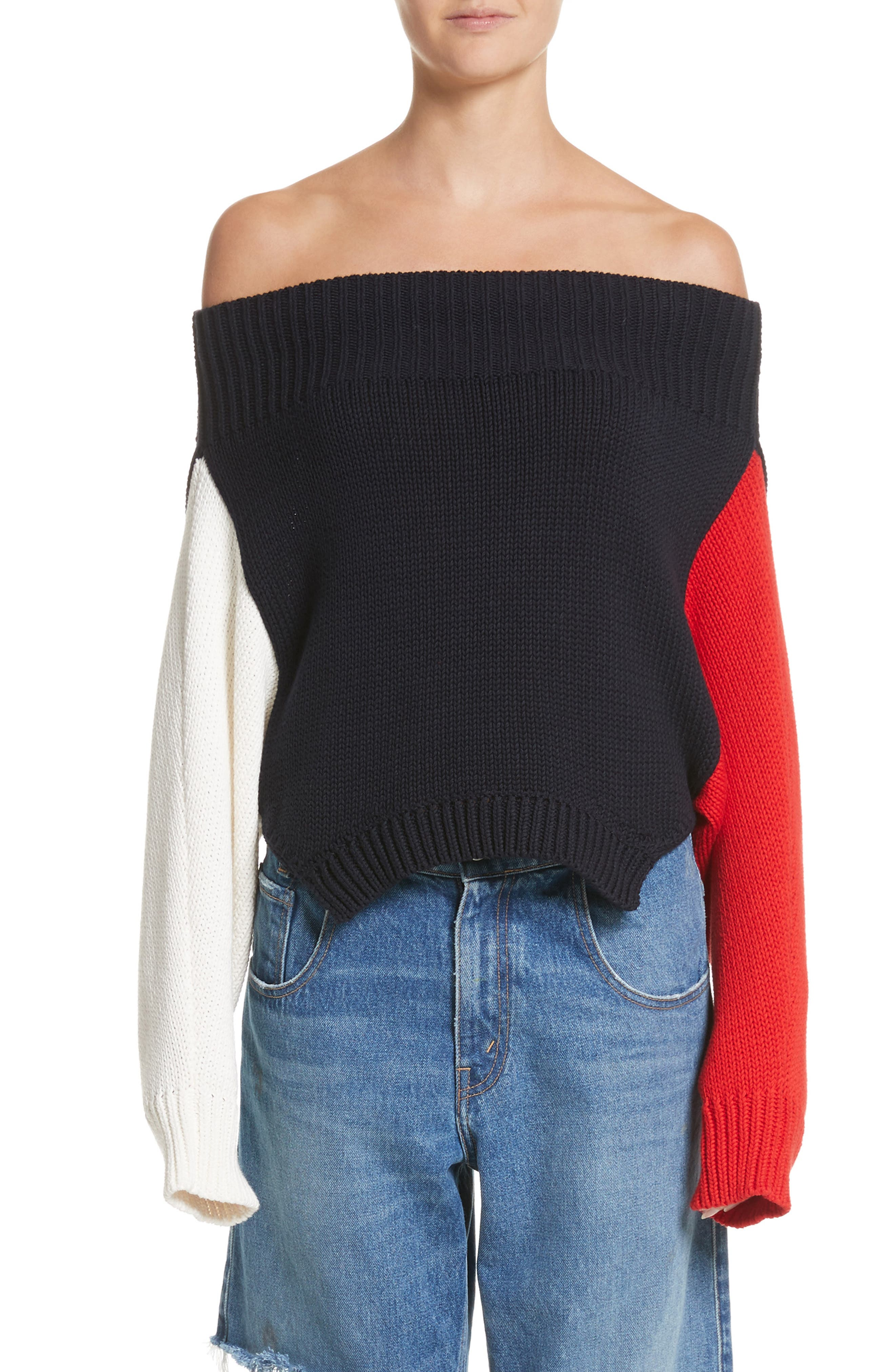 Varsity Upside Down Sweater,                             Main thumbnail 1, color,                             Ivory/ Red/ Navy