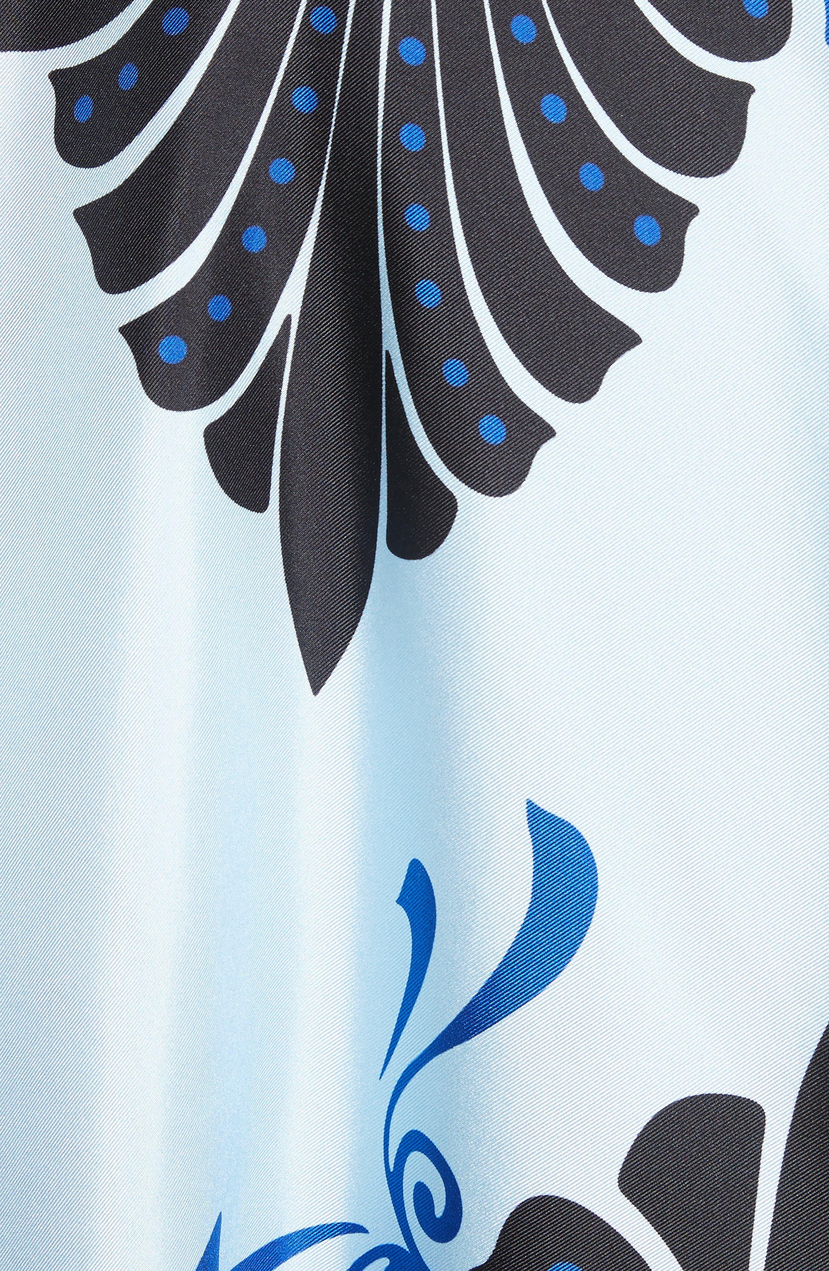 Eros Wide Sleeve Silk Shirt,                             Alternate thumbnail 5, color,                             Light Blue/ Print