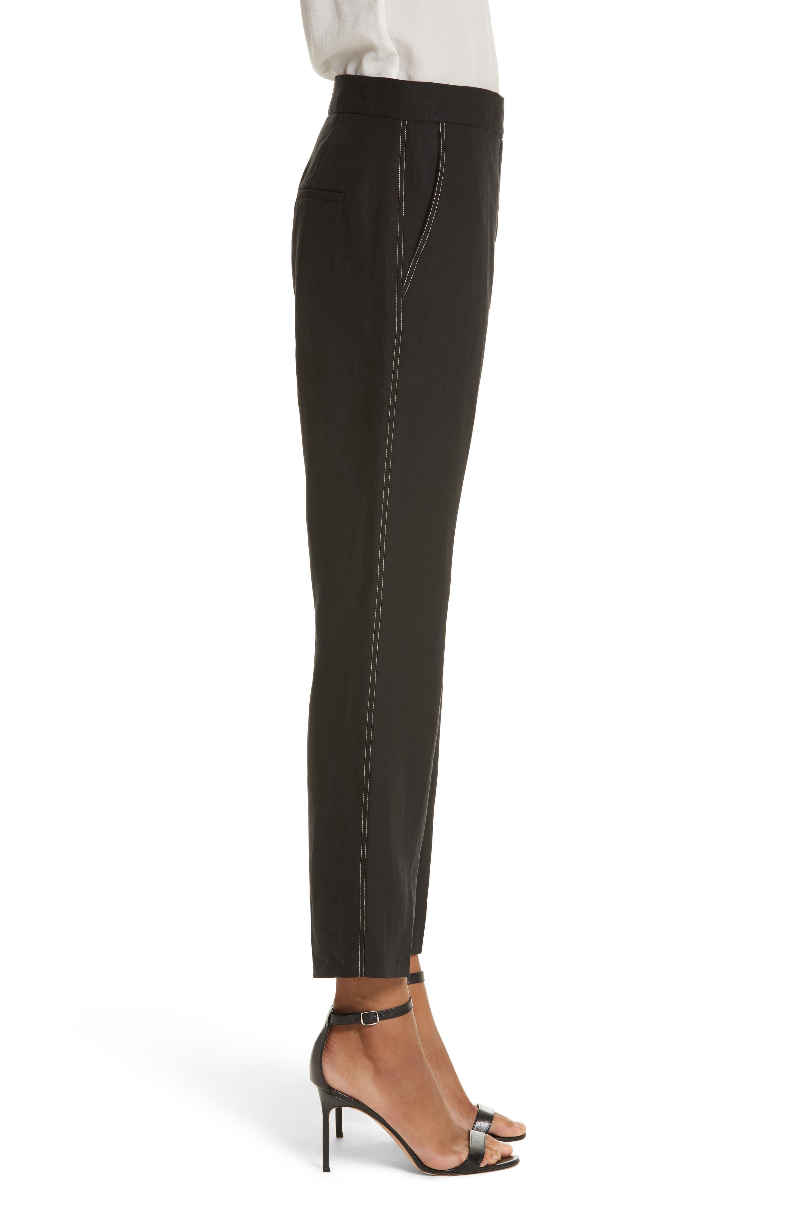 Luigia Linen Crop Flare Pants,                             Alternate thumbnail 3, color,                             Black