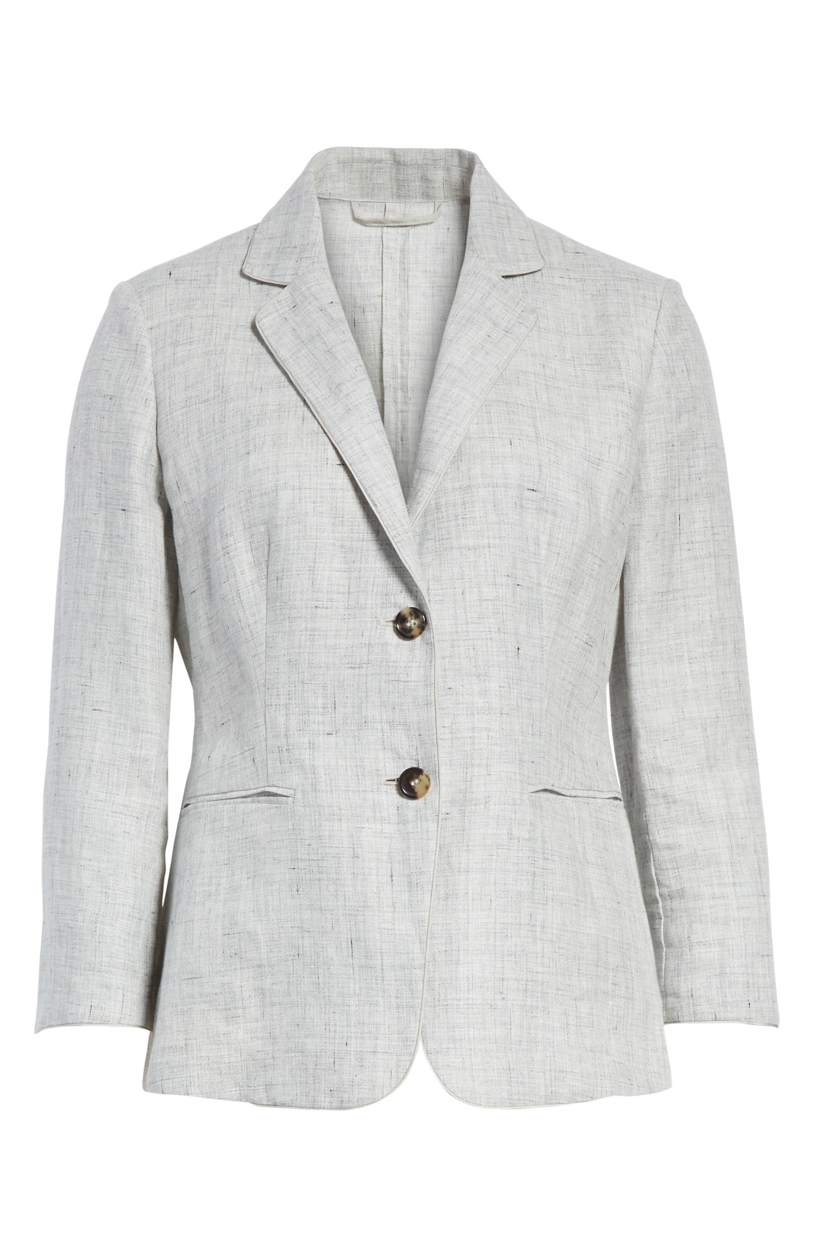 Vello Linen Blazer,                             Alternate thumbnail 4, color,                             Light Grey