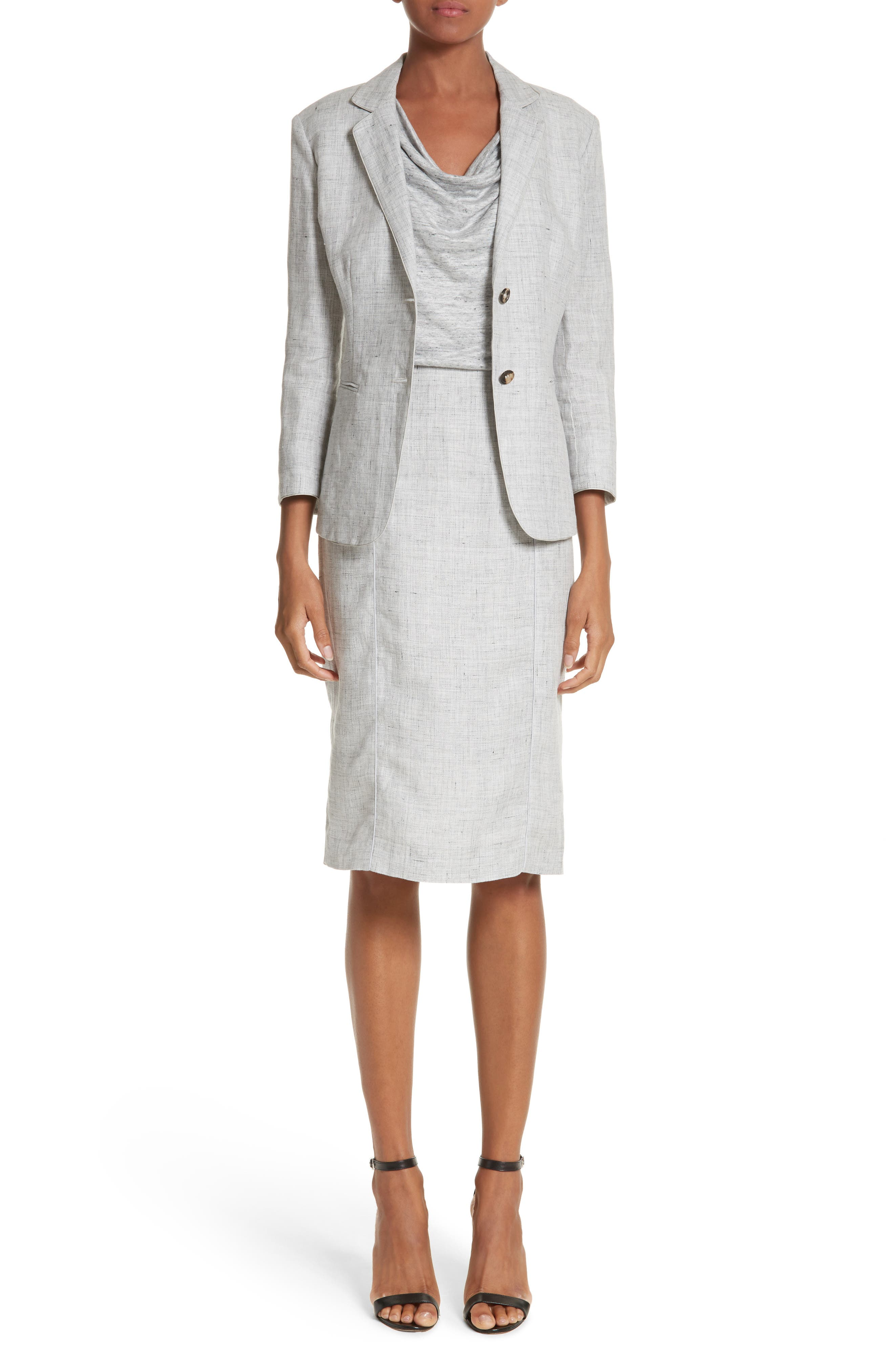 Laura Cowl Neck Linen Dress,                             Alternate thumbnail 7, color,                             Light Grey