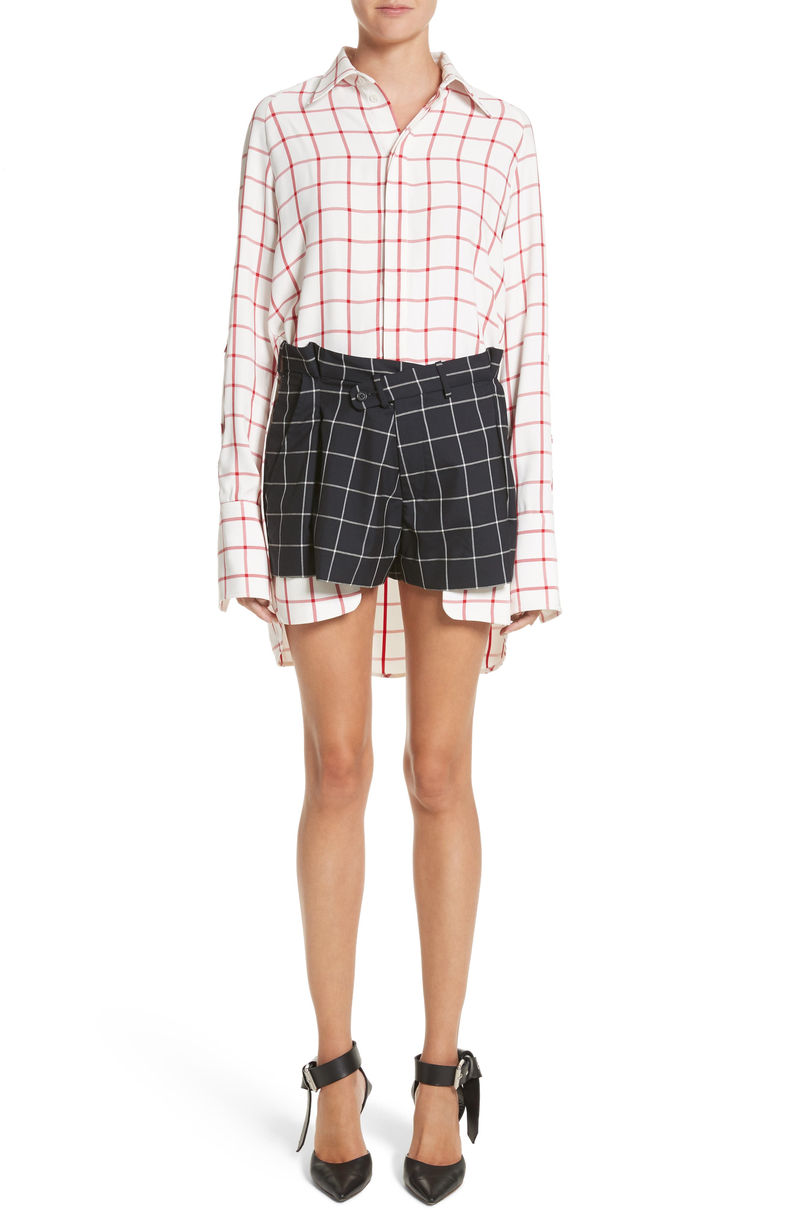 Windowpane Plaid Snap Sleeve Shirt,                             Alternate thumbnail 7, color,                             Ivory/ Red