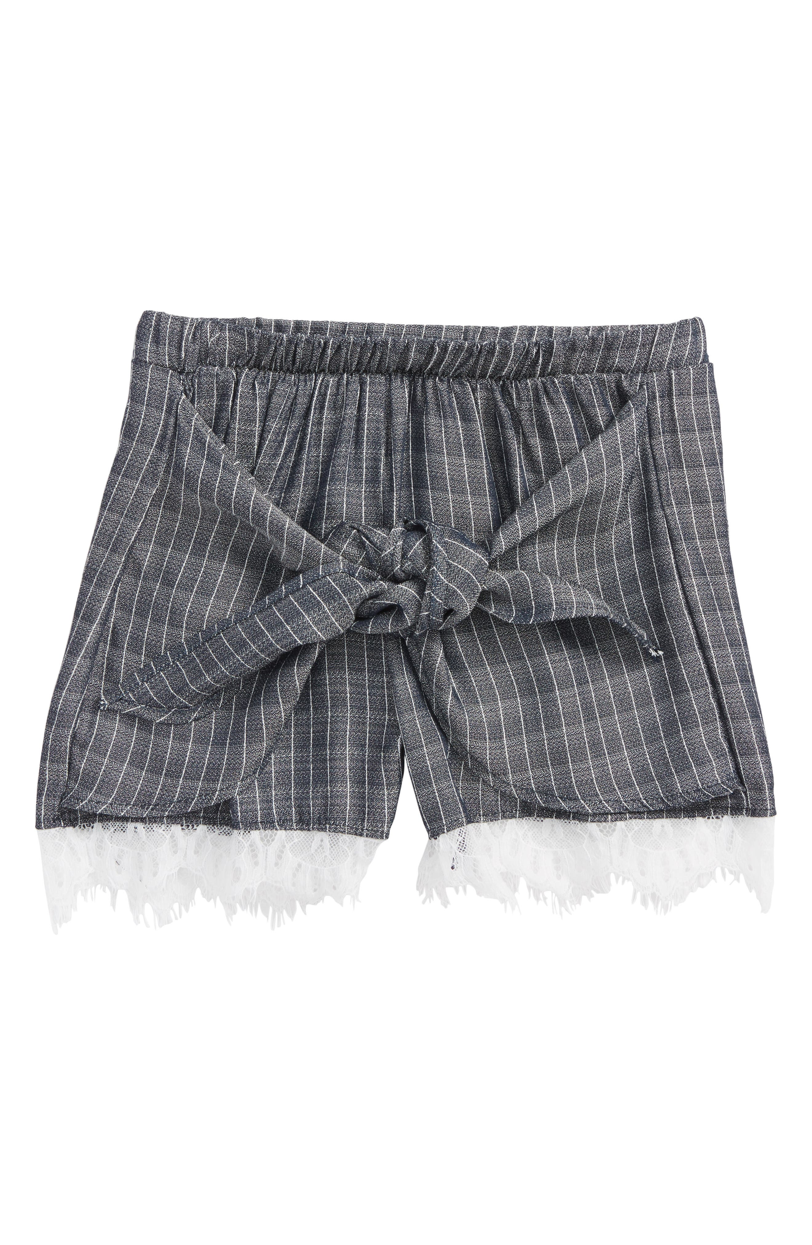Main Image - Kiddo Lace Trim Tie Front Shorts (Big Girls)