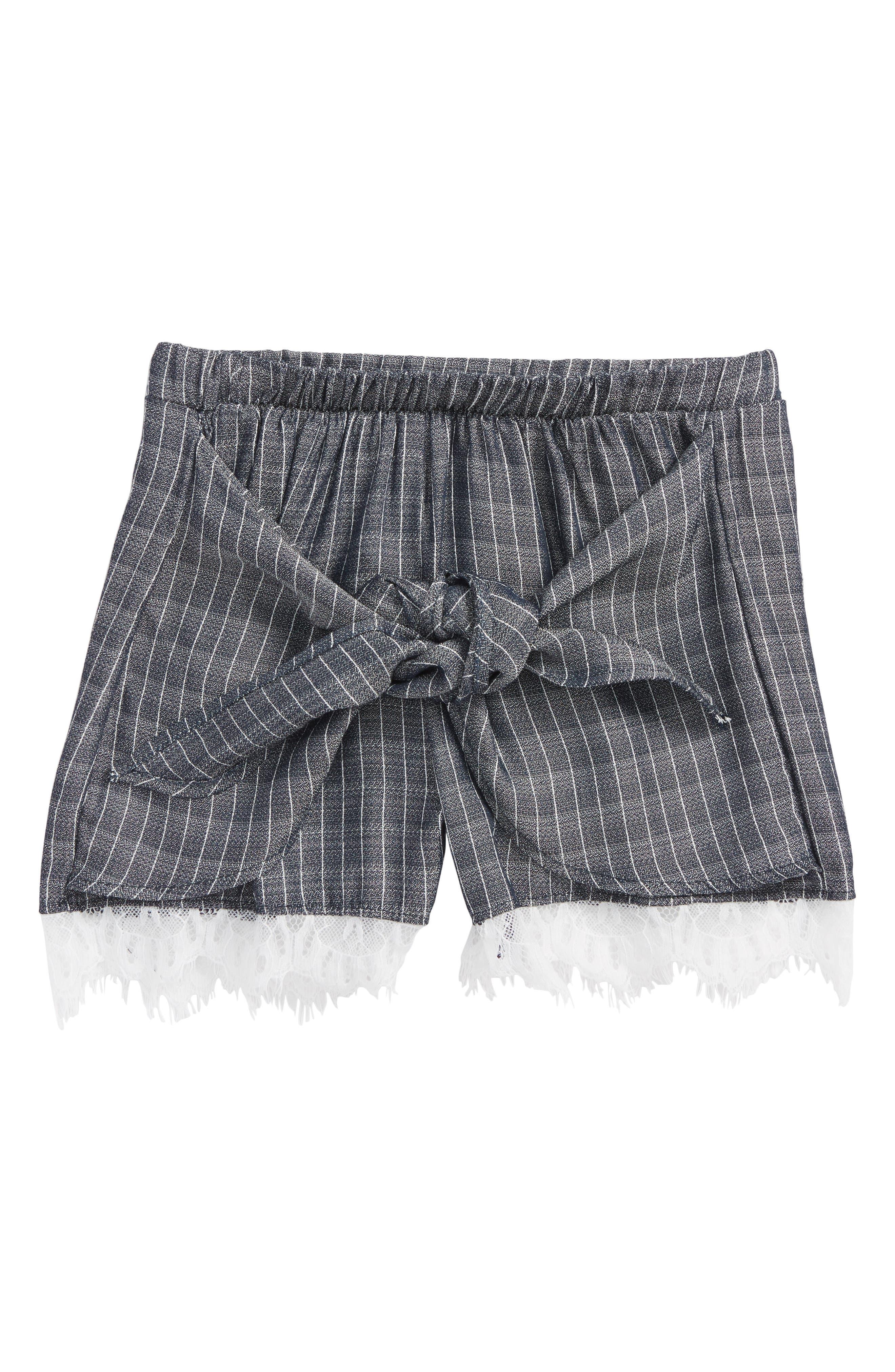 Lace Trim Tie Front Shorts,                         Main,                         color, Dark Denim