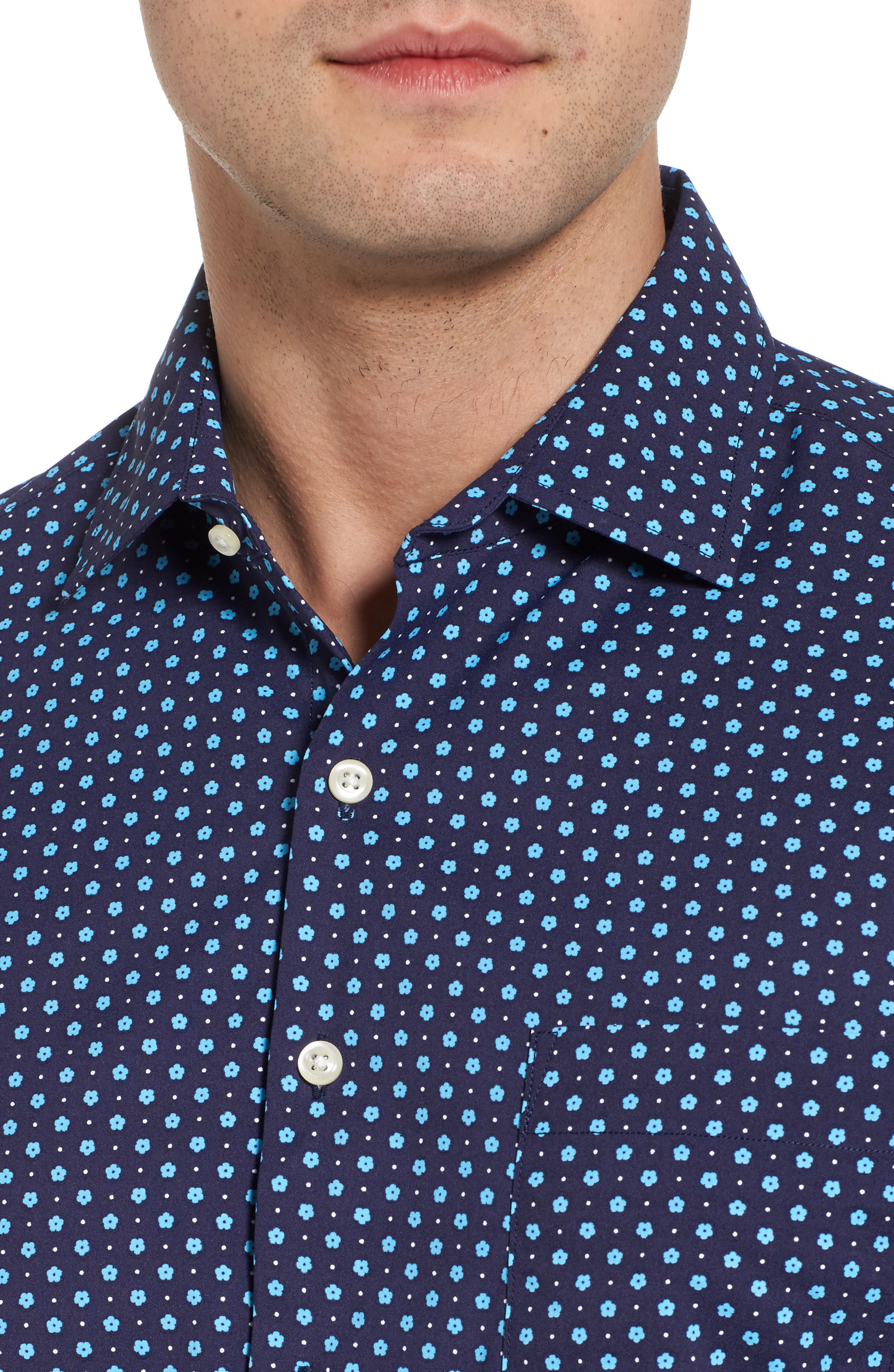 Jennings Regular Fit Floral Dot Performance Sport Shirt,                             Alternate thumbnail 4, color,                             Yankee Blue