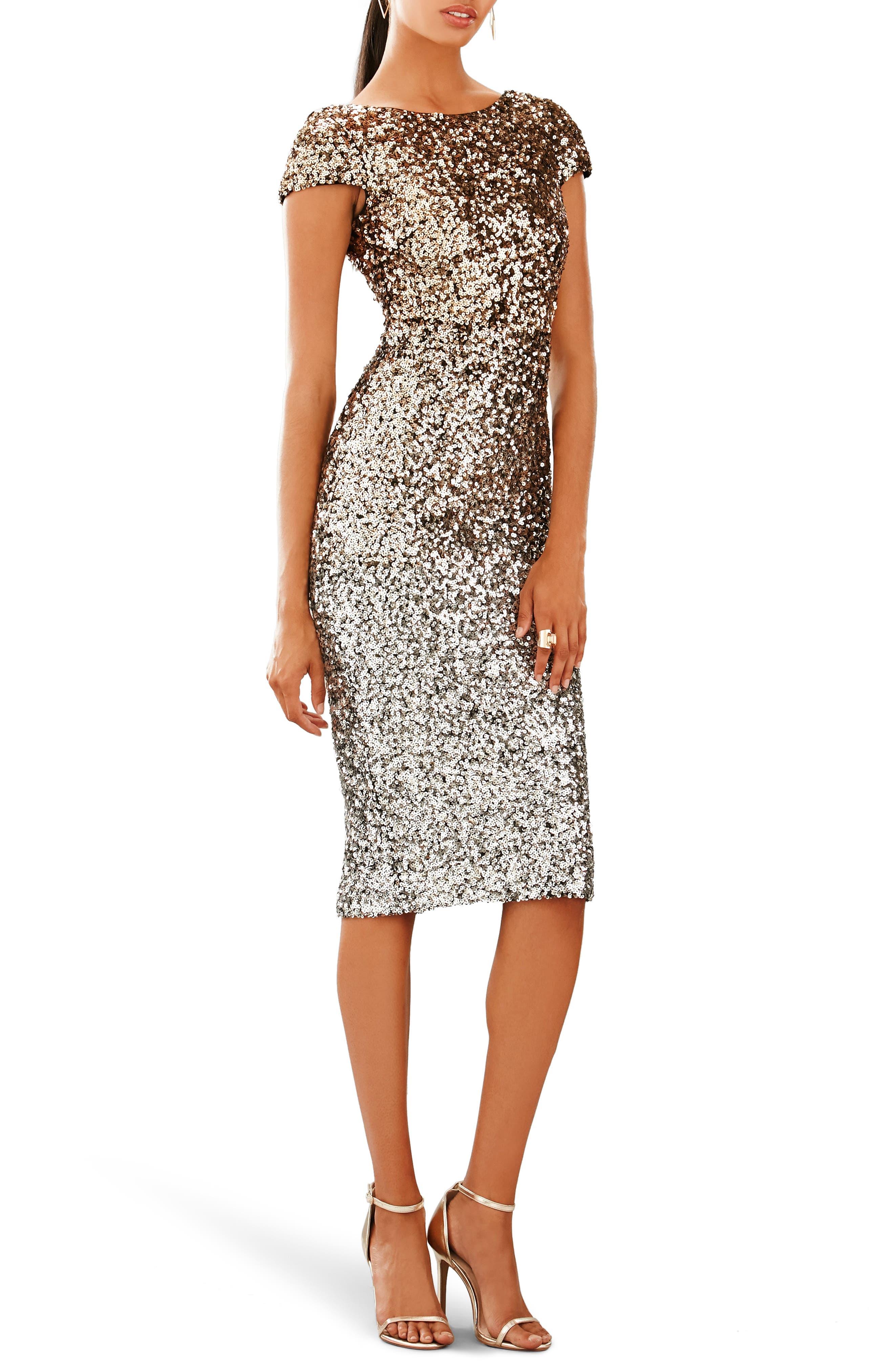 Marcella Ombré Sequin Body-Con Dress,                             Main thumbnail 1, color,                             Silver/ Gold