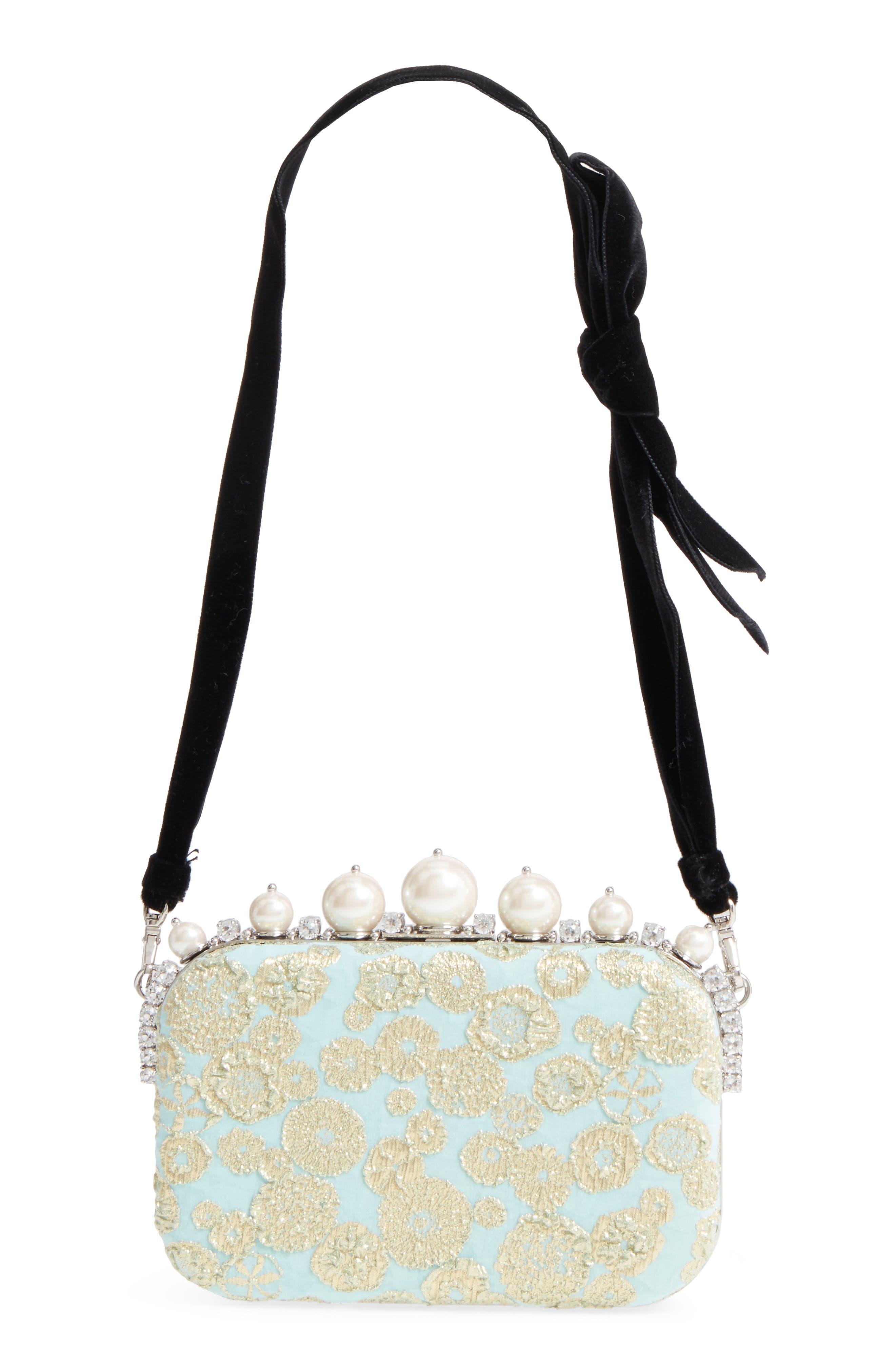 Imitation Pearl & Metallic Brocade Shoulder Bag,                         Main,                         color, Clorofilla