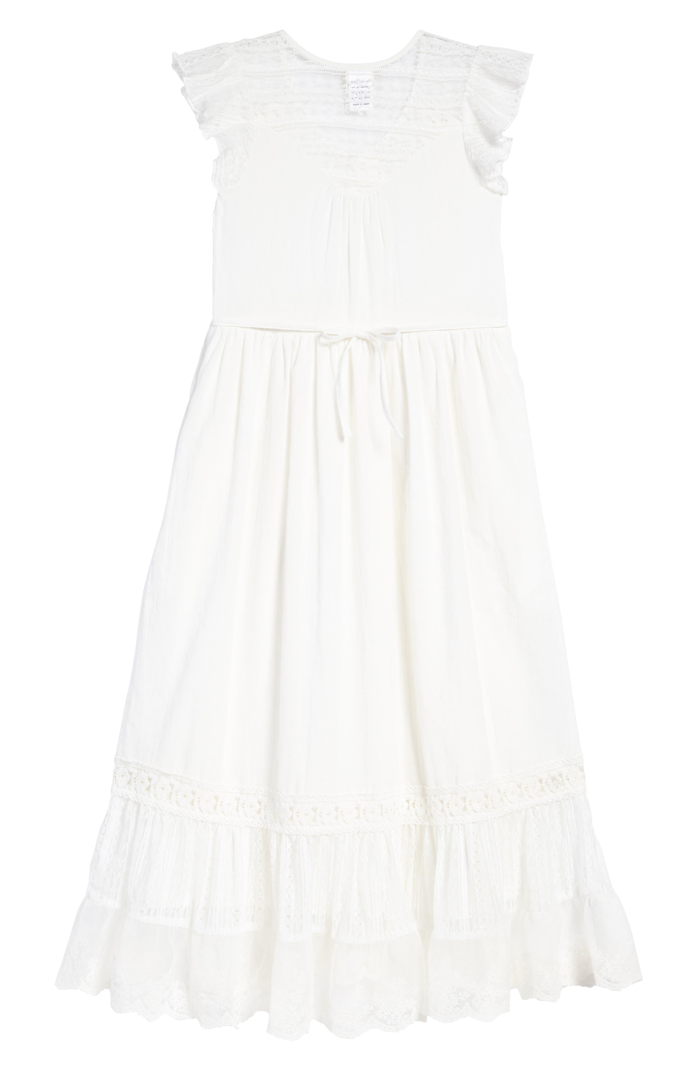 Lace Trim Maxi Dress,                             Alternate thumbnail 2, color,                             Ivory