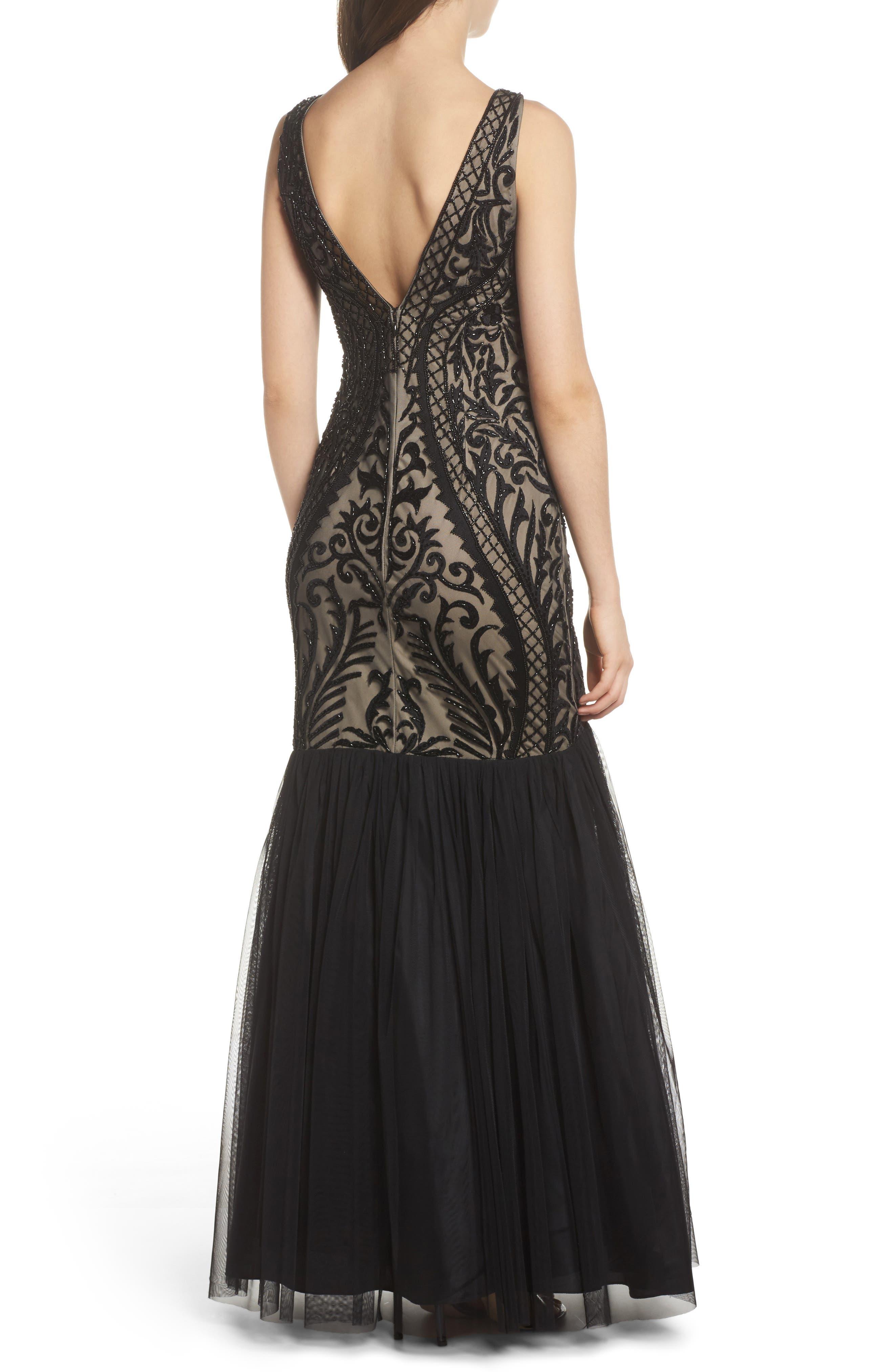 Embellished Mermaid Gown,                             Alternate thumbnail 2, color,                             Black Nude