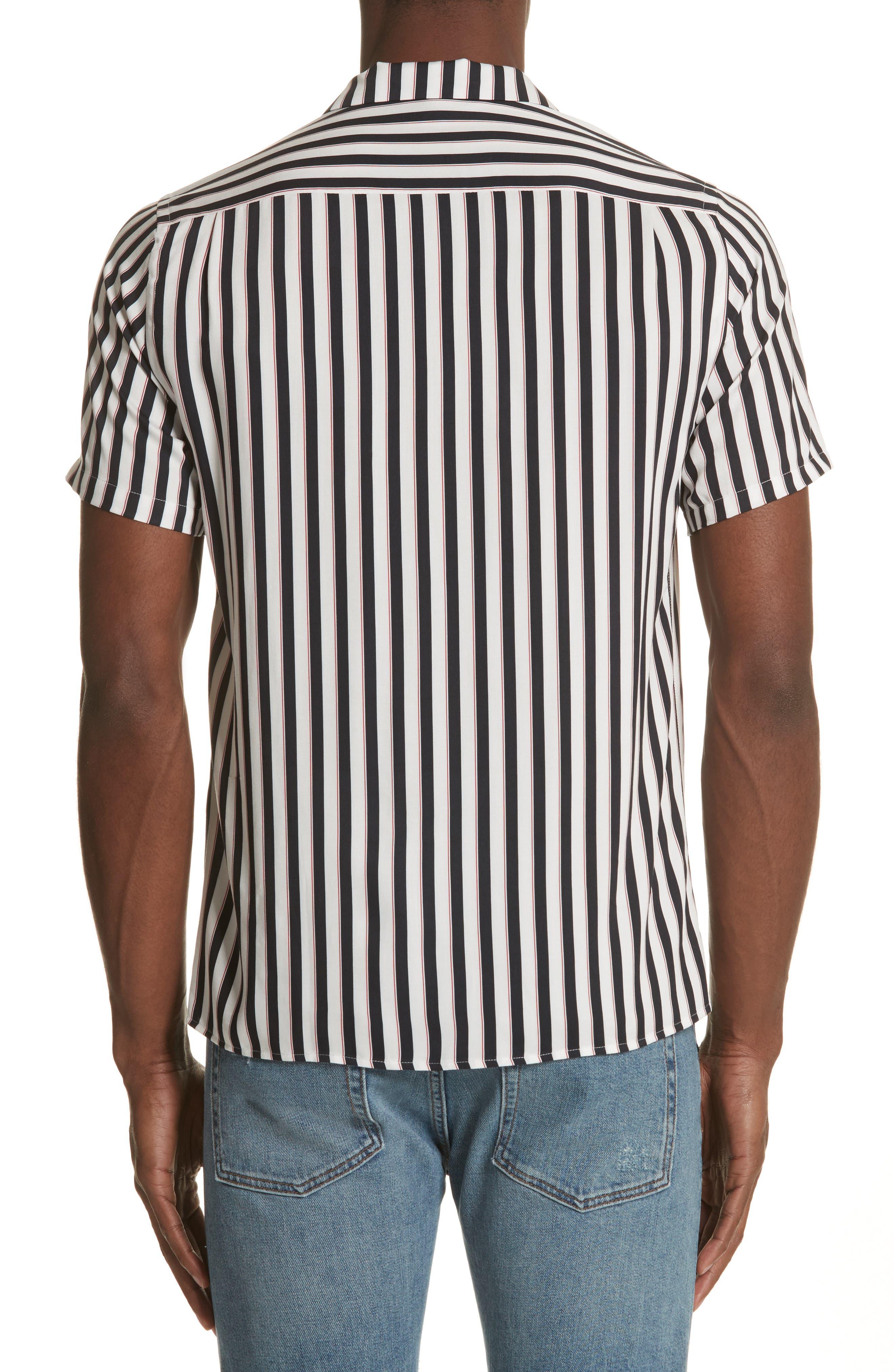 Stripe Camp Shirt,                             Alternate thumbnail 3, color,                             Whi 09
