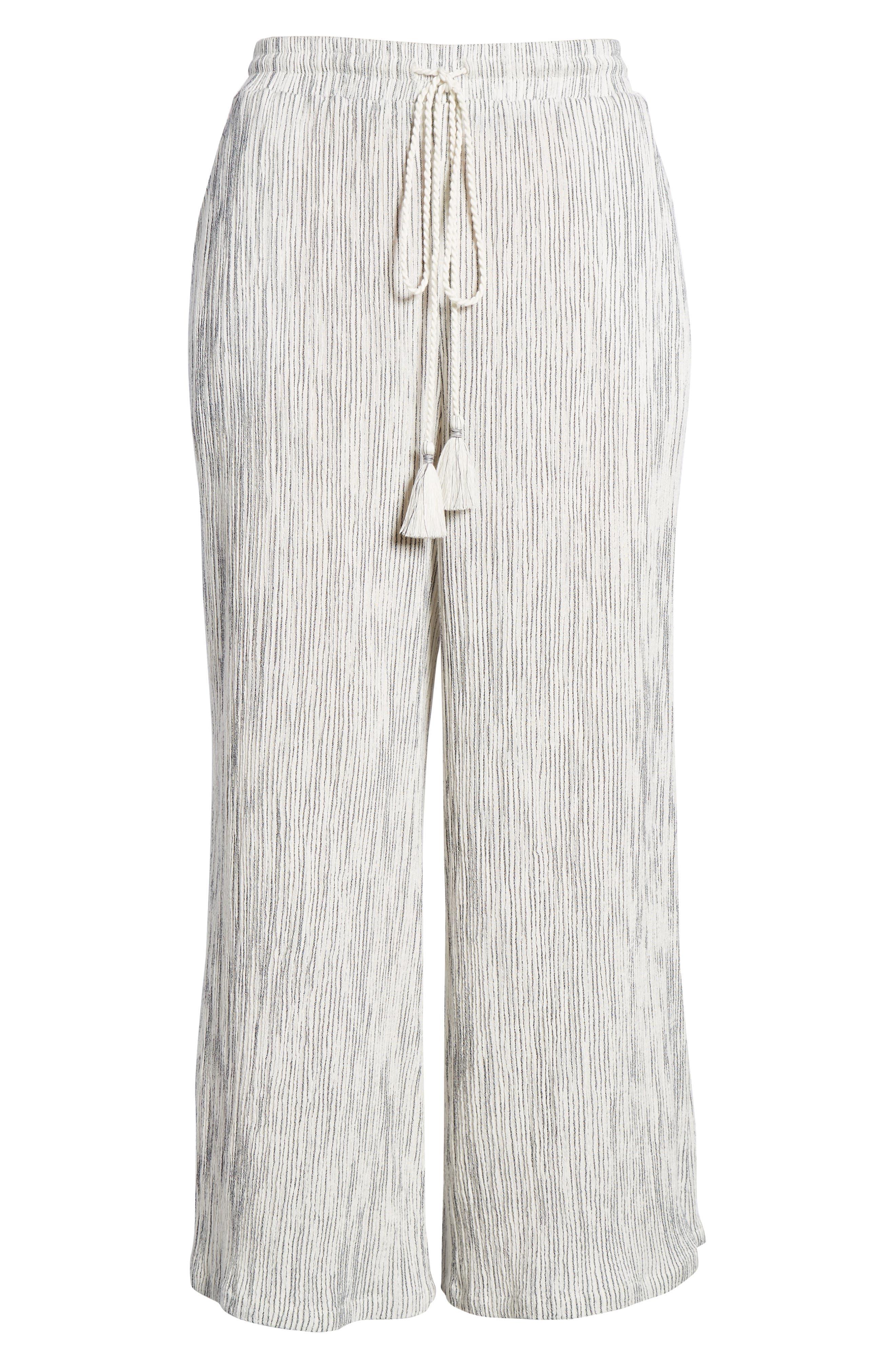 Crinkled Wide Leg Crop Pants,                             Alternate thumbnail 7, color,                             Ivory Angel Stripe