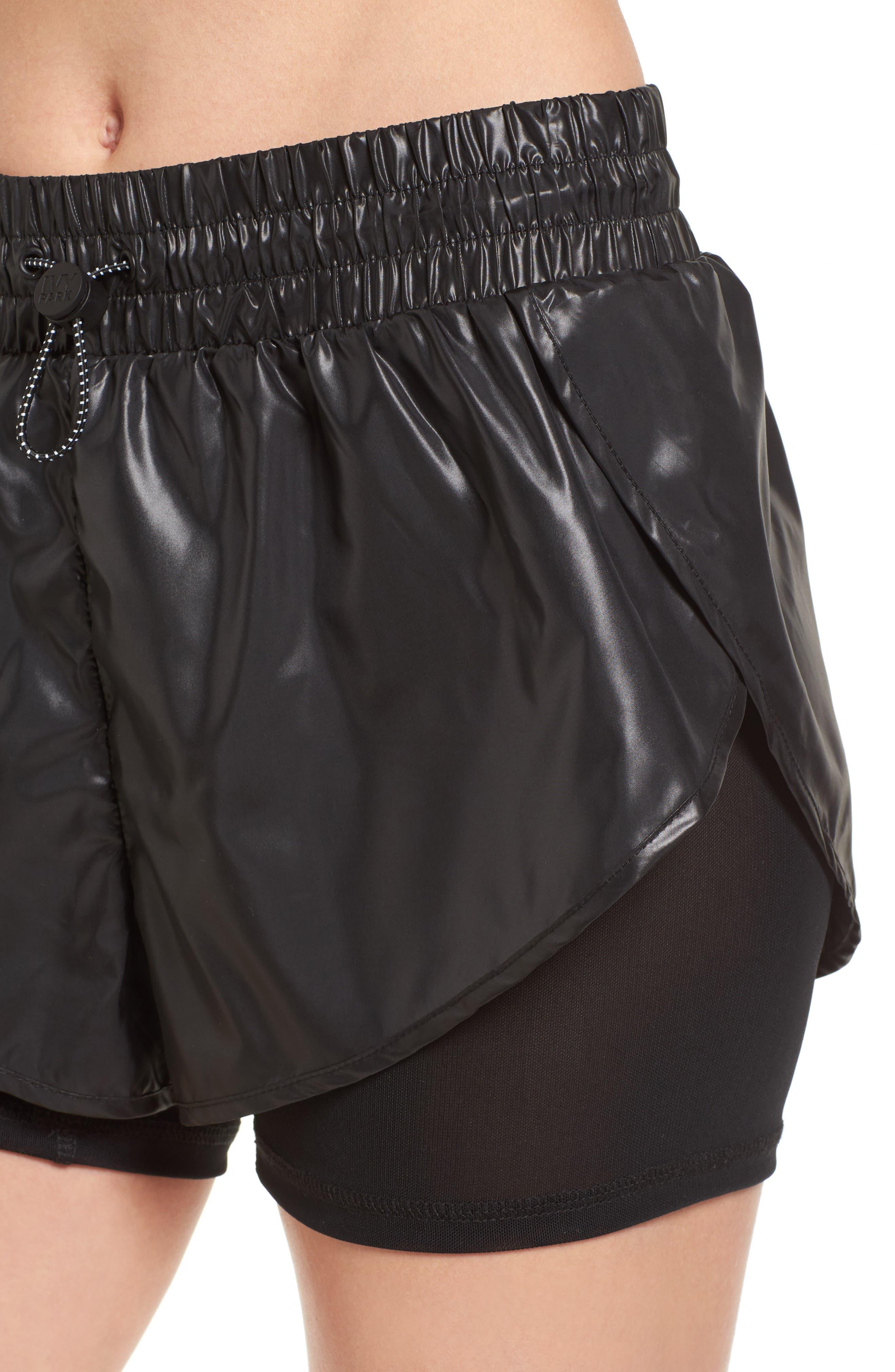 Hi Shine Double Layer Shorts,                             Alternate thumbnail 6, color,                             Black