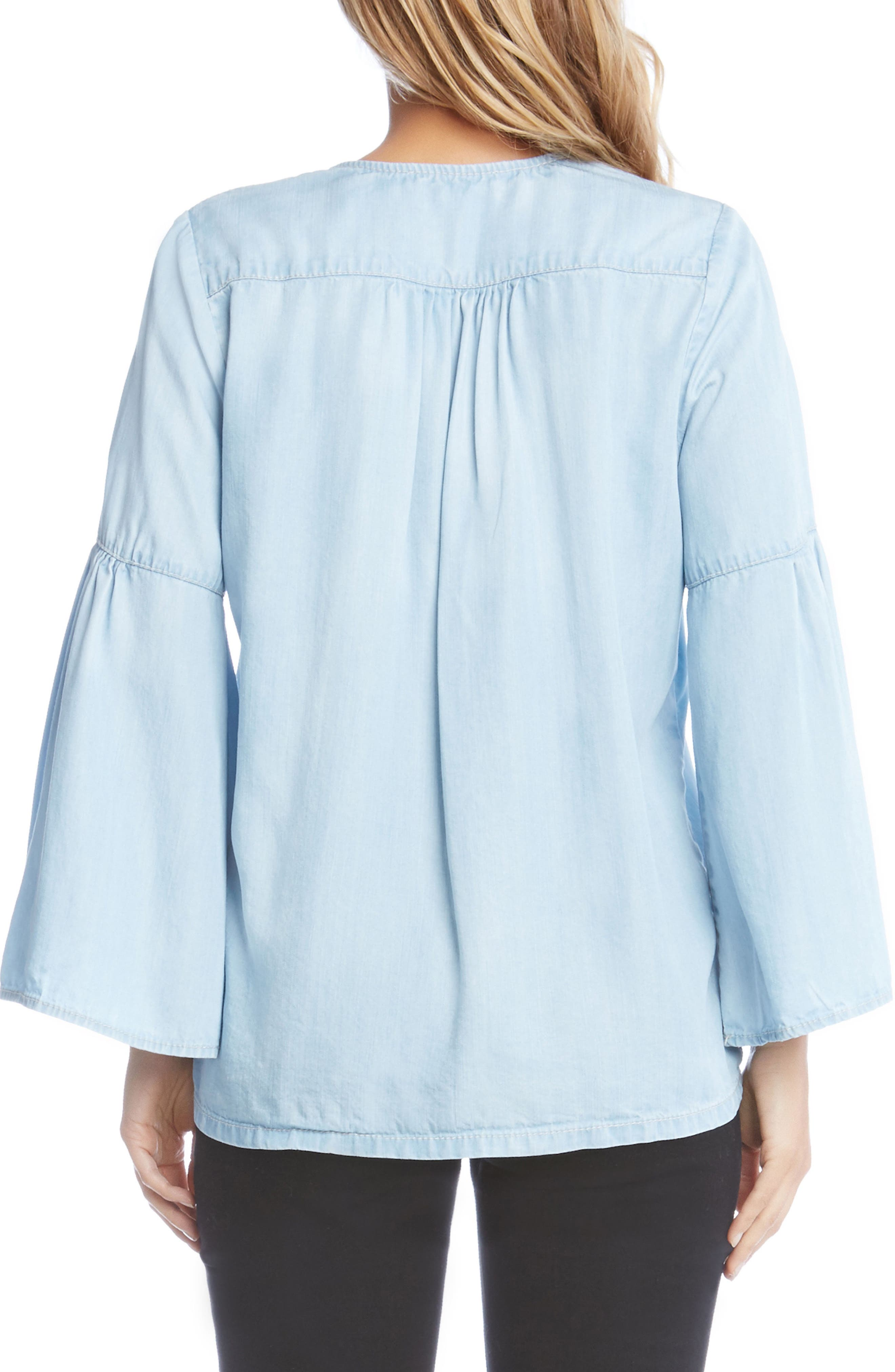 Lace-Up Bell Sleeve Top,                             Alternate thumbnail 2, color,                             Chambray