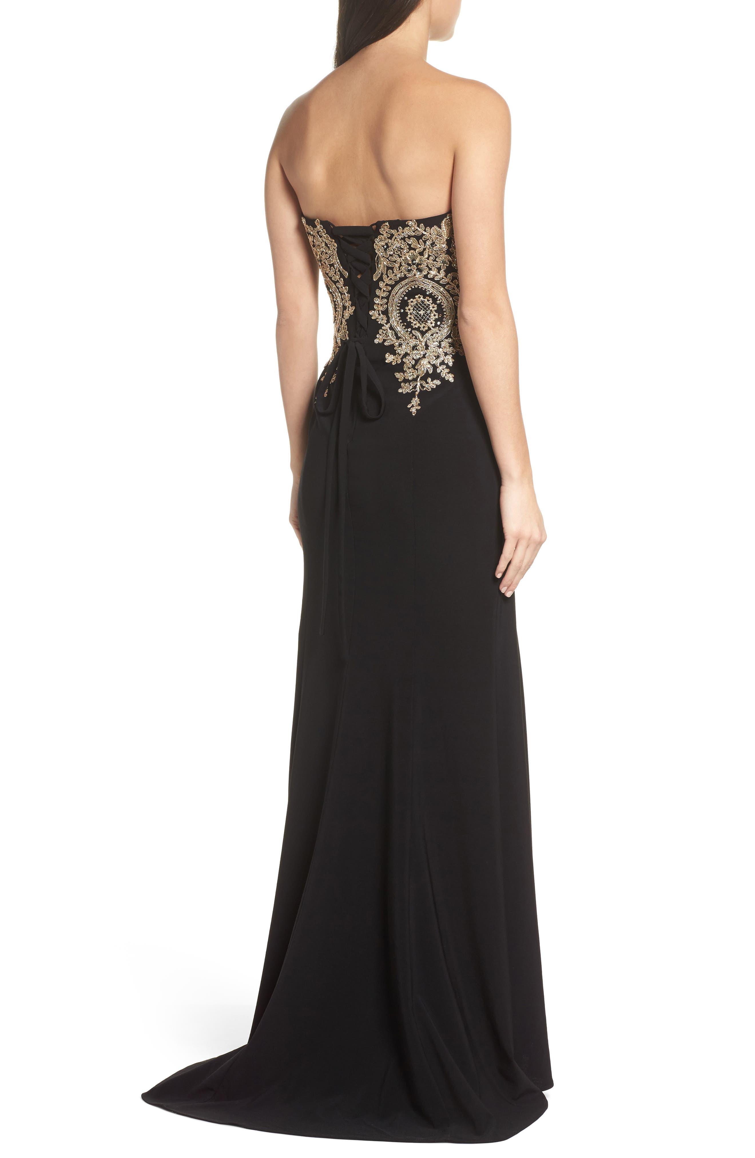 Corset Back Embellished Strapless Gown,                             Alternate thumbnail 2, color,                             Black/ Gold