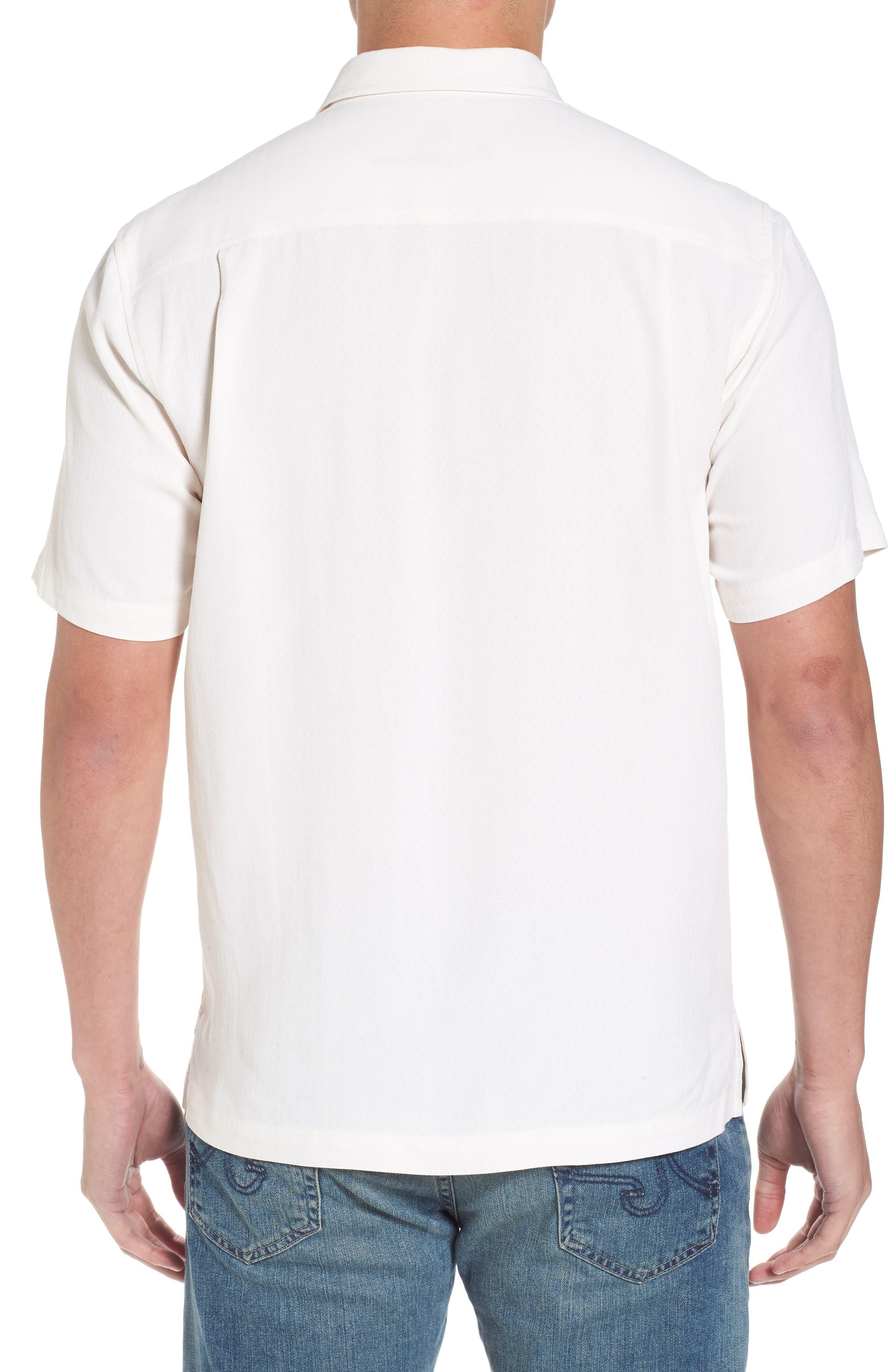 Oasis Jacquard Silk Sport Shirt,                             Alternate thumbnail 3, color,                             Continental