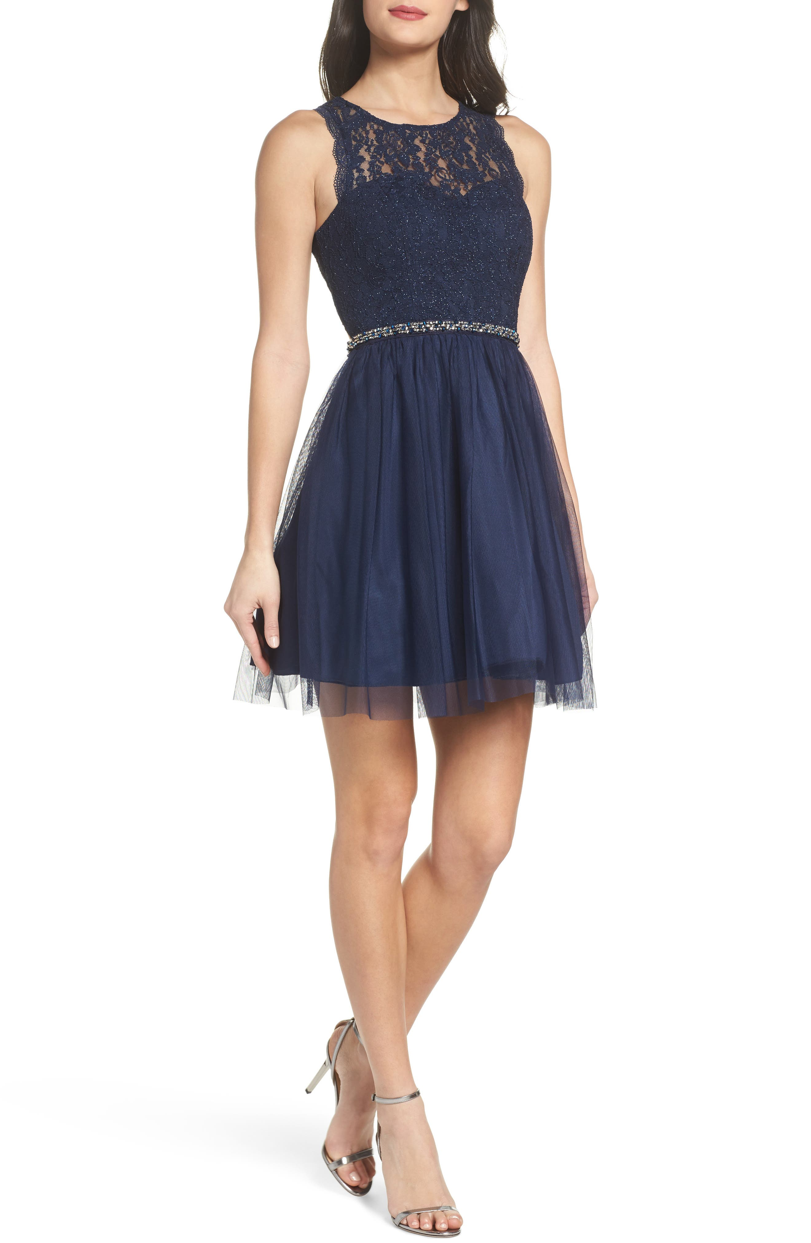 Glitter Lace Fit & Flare Dress,                         Main,                         color, Navy