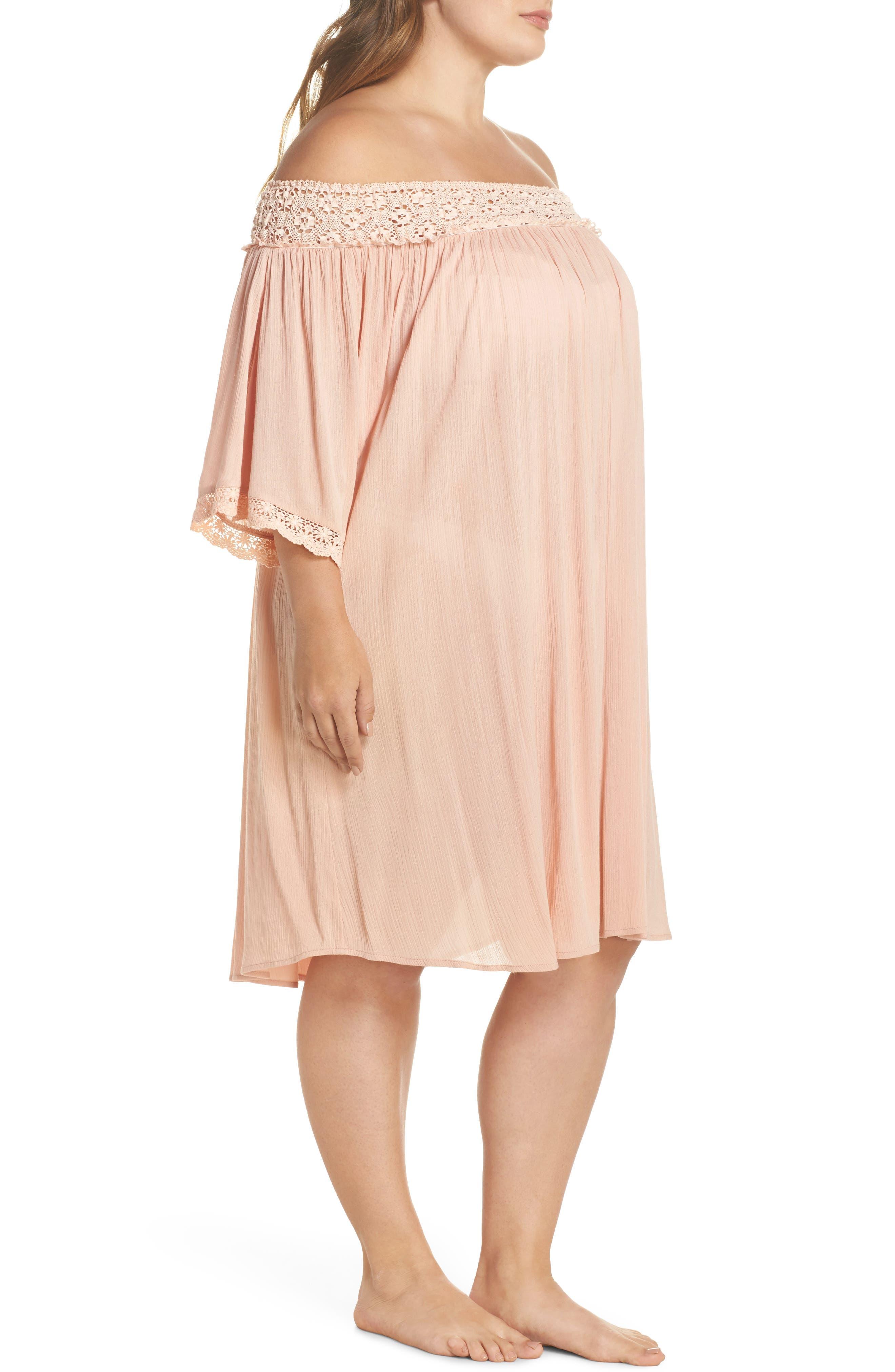 Rimini Crochet Cover-Up Dress,                             Alternate thumbnail 3, color,                             Pink