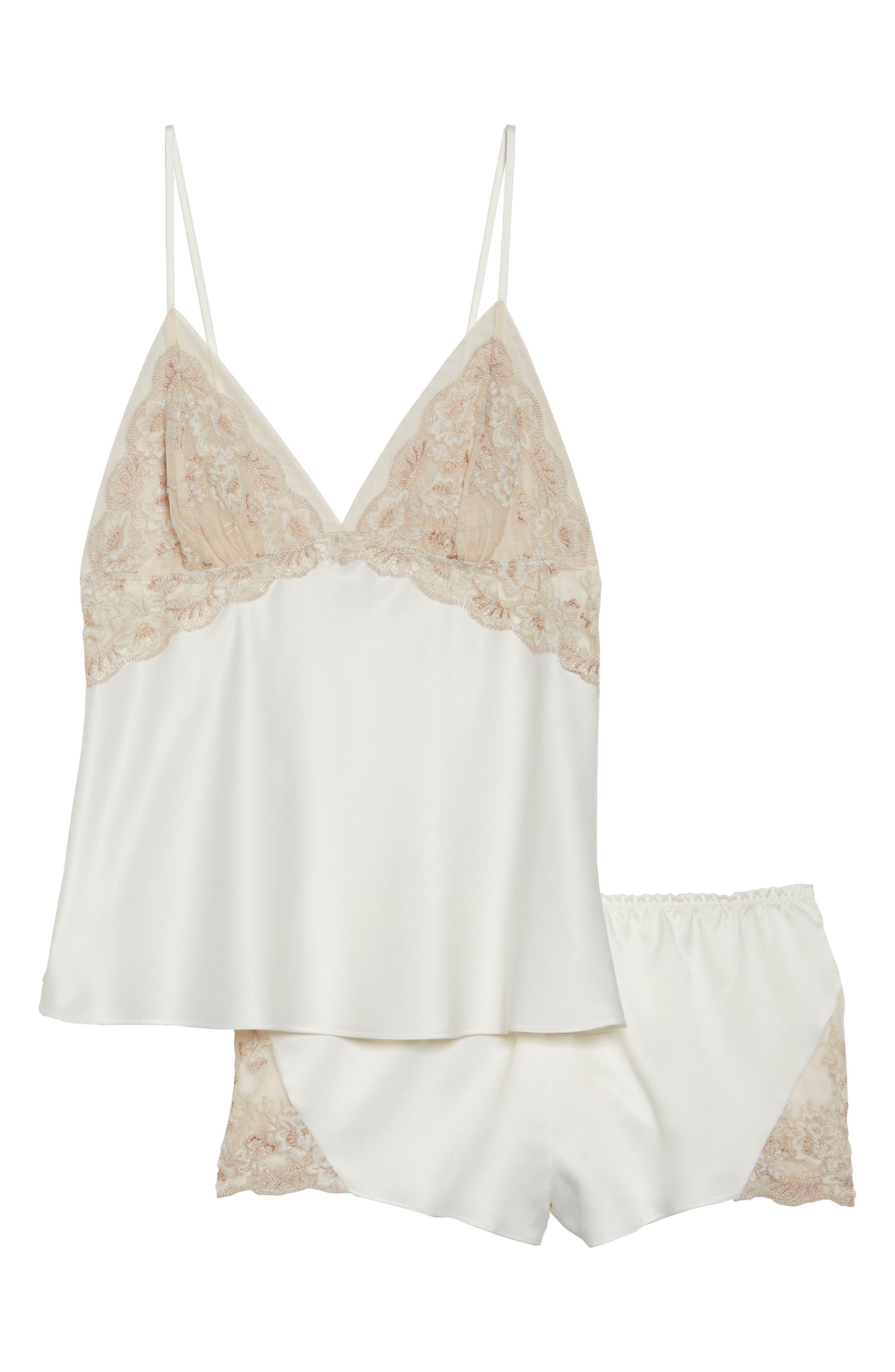 Rosa Charm Short Pajamas,                             Alternate thumbnail 4, color,                             Ivory