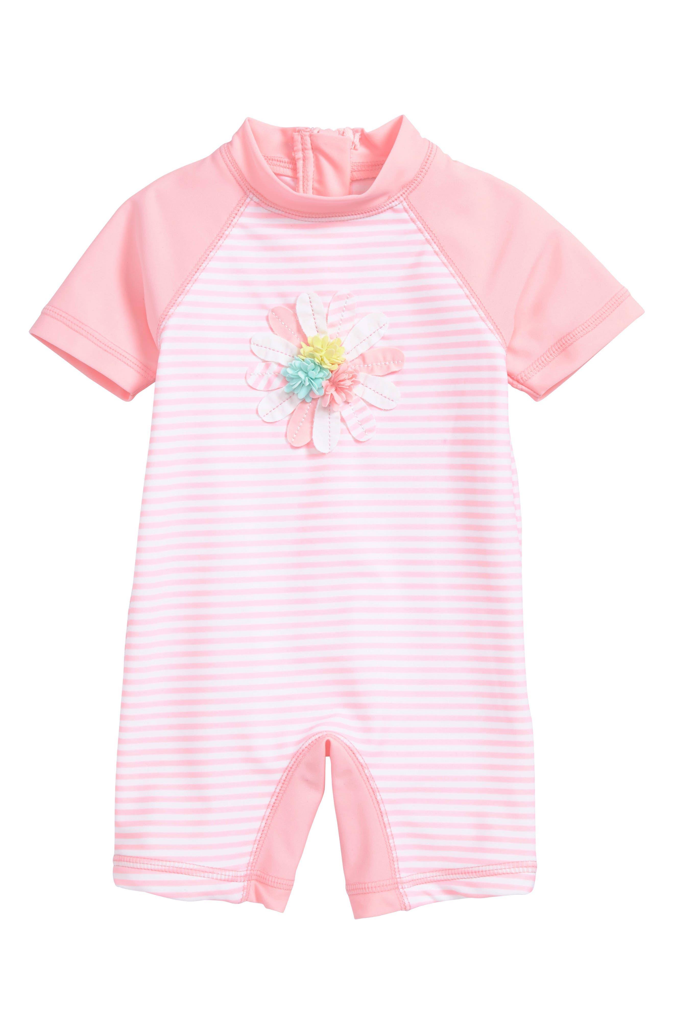Floral Appliqué One-Piece Rashguard Swimsuit,                             Main thumbnail 1, color,                             Pink Stripe