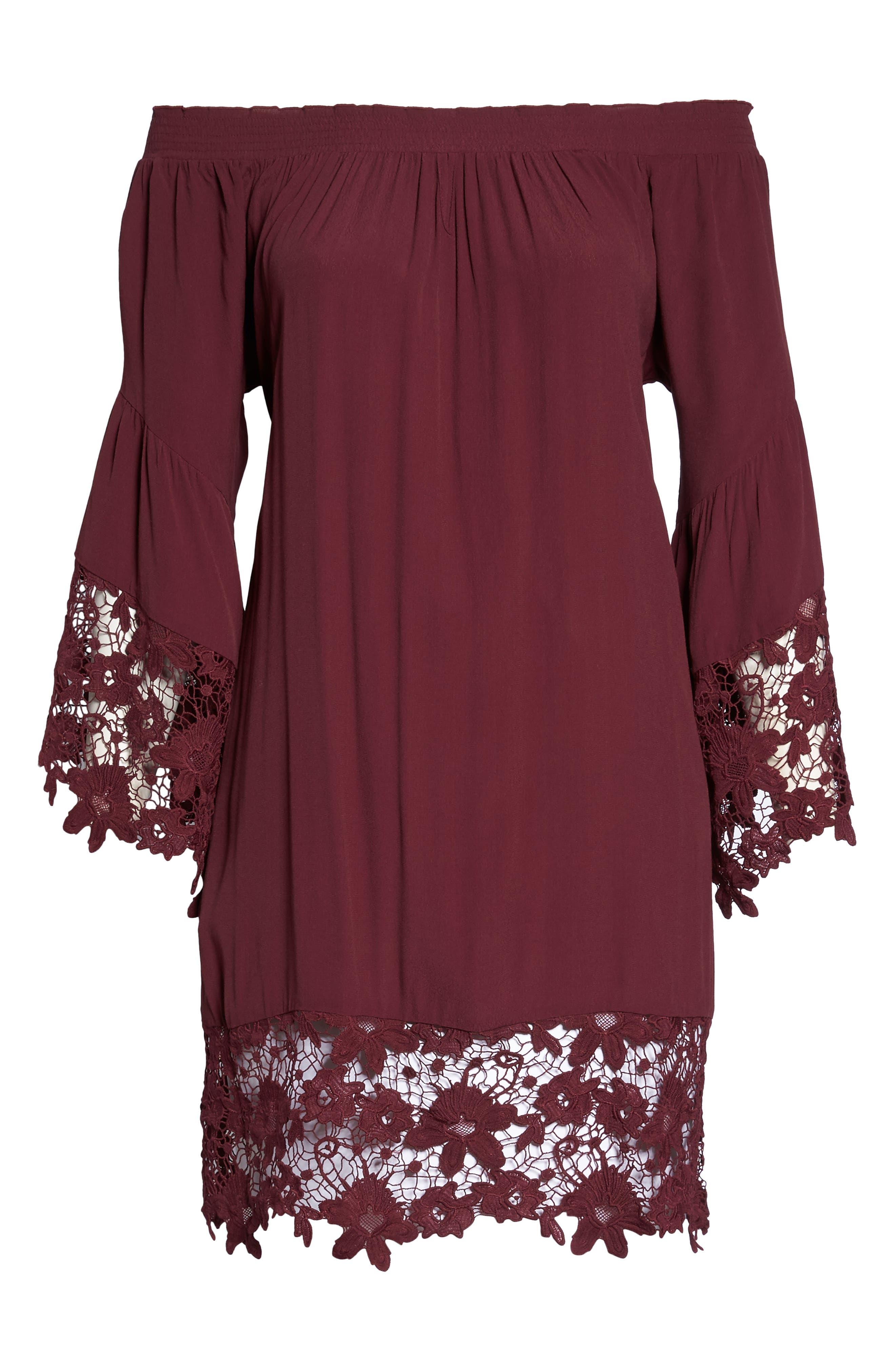 Jolie Lace Accent Cover-Up Dress,                             Alternate thumbnail 6, color,                             Burgundy