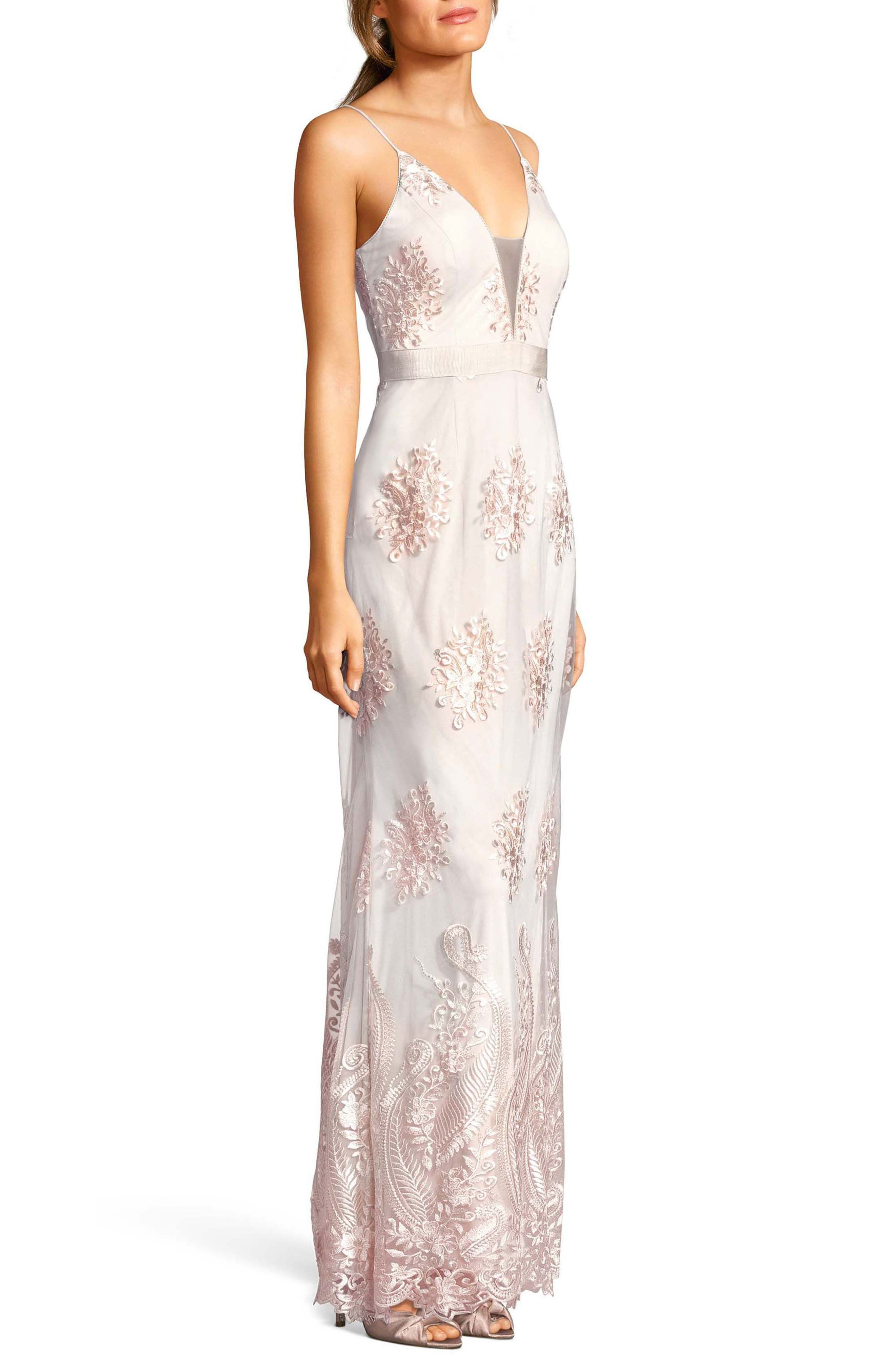 Alternate Image 3  - Adrianna Papell Embroidered Plunging Tulle Gown