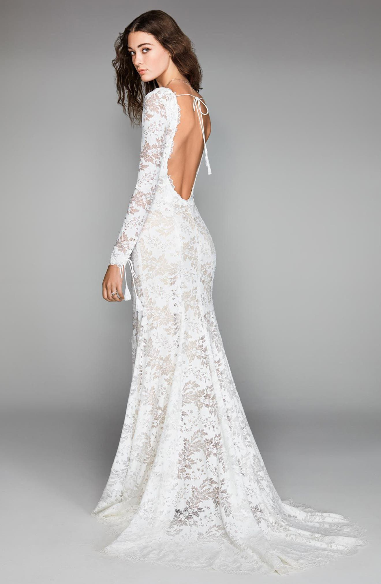 Luna Lace Mermaid Gown,                             Alternate thumbnail 2, color,                             Ivory/ Nude