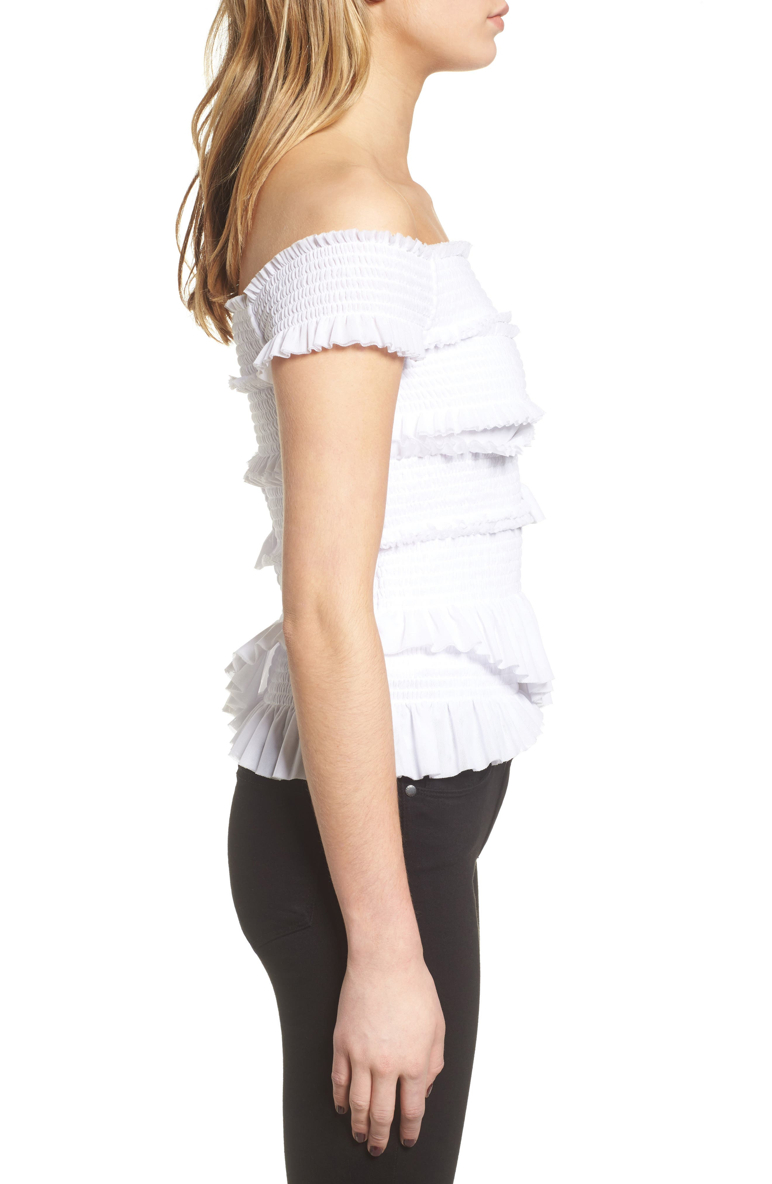 Smocked Ruffle Off the Shoulder Top,                             Alternate thumbnail 3, color,                             White
