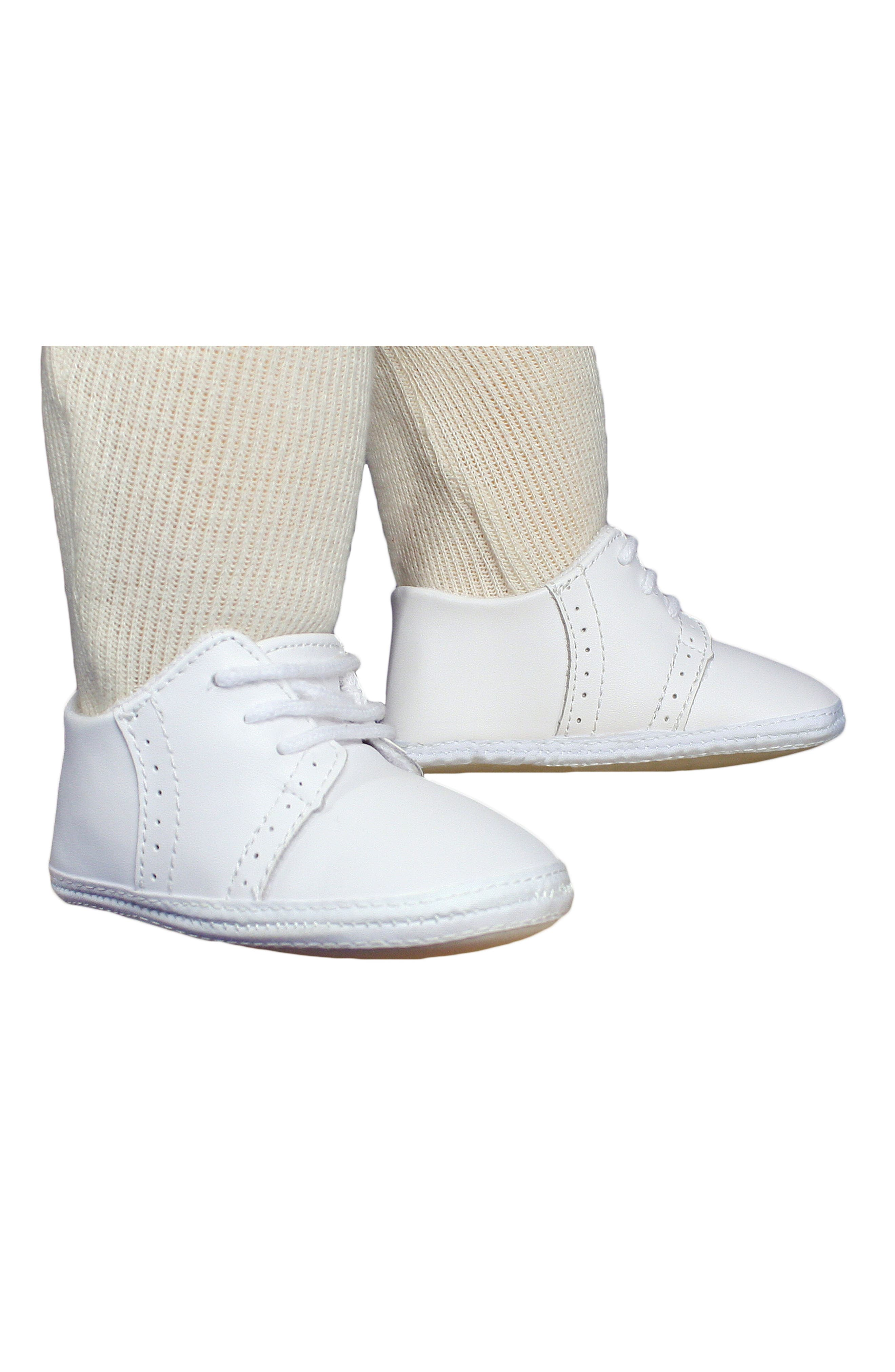 Leather Crib Shoe,                             Alternate thumbnail 4, color,                             White
