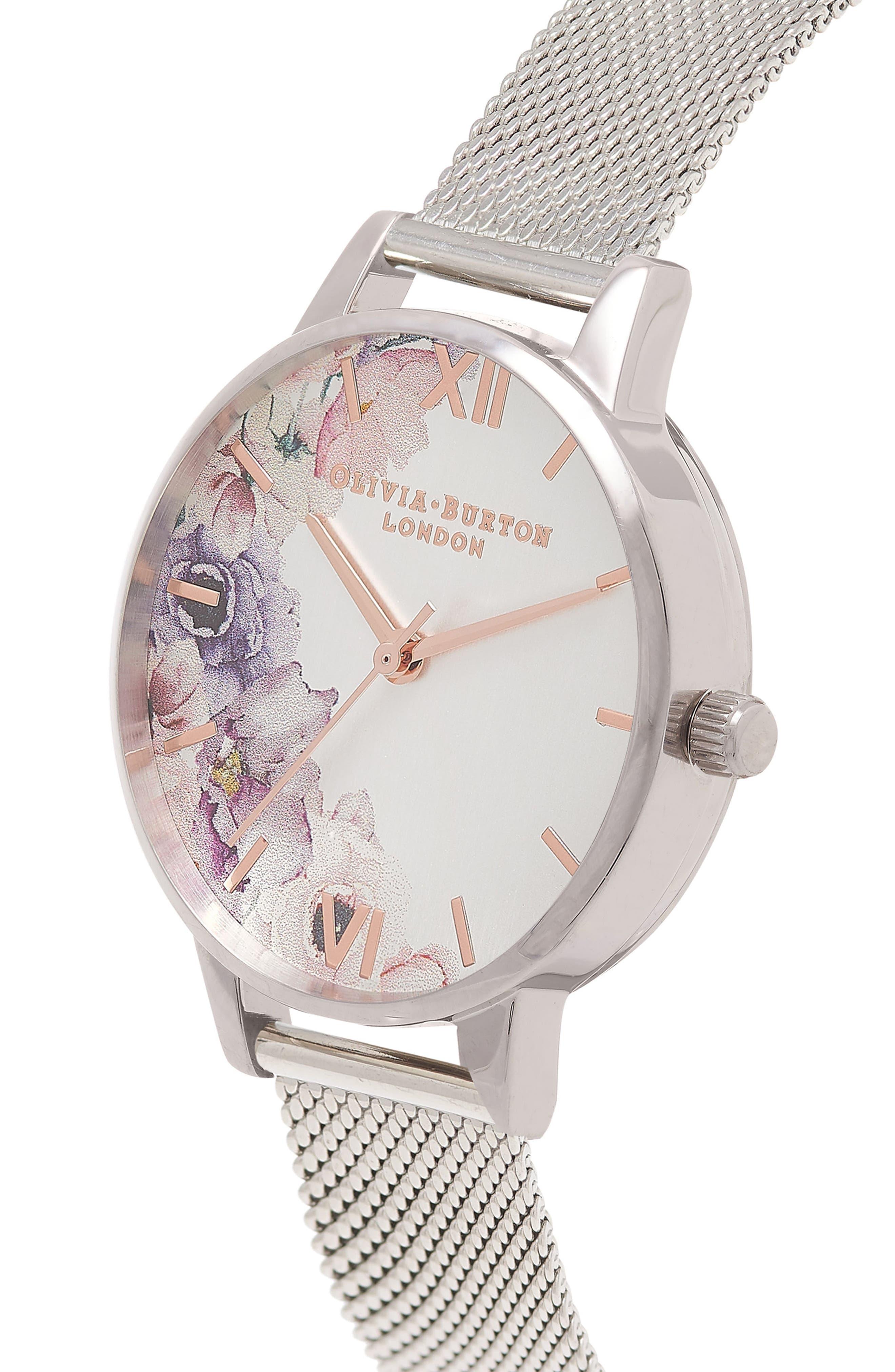 Alternate Image 3  - Olivia Burton Watercolour Florals Mesh Strap Watch, 30mm