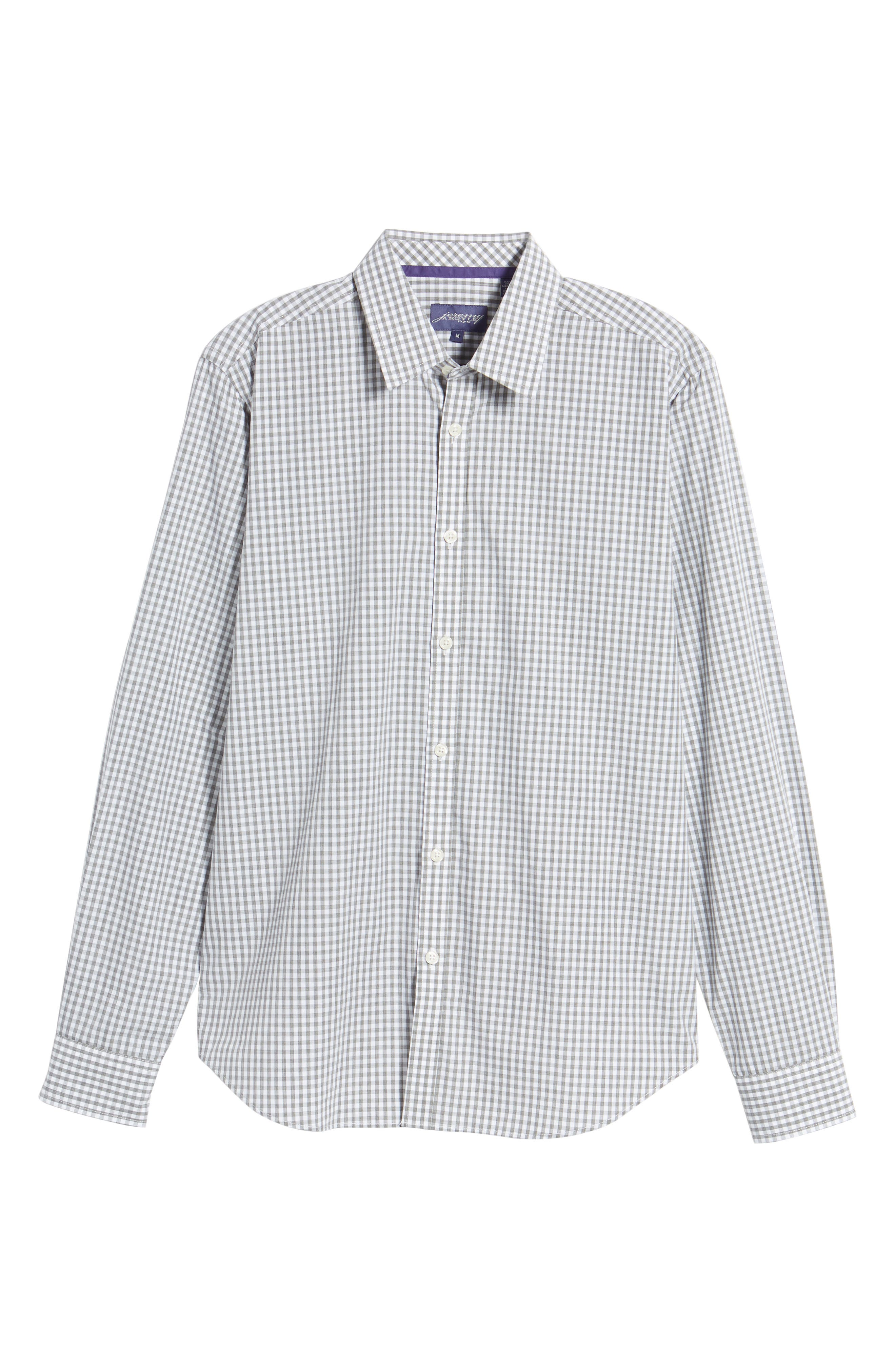 Fitted Check Sport Shirt,                             Alternate thumbnail 6, color,                             Medium Grey