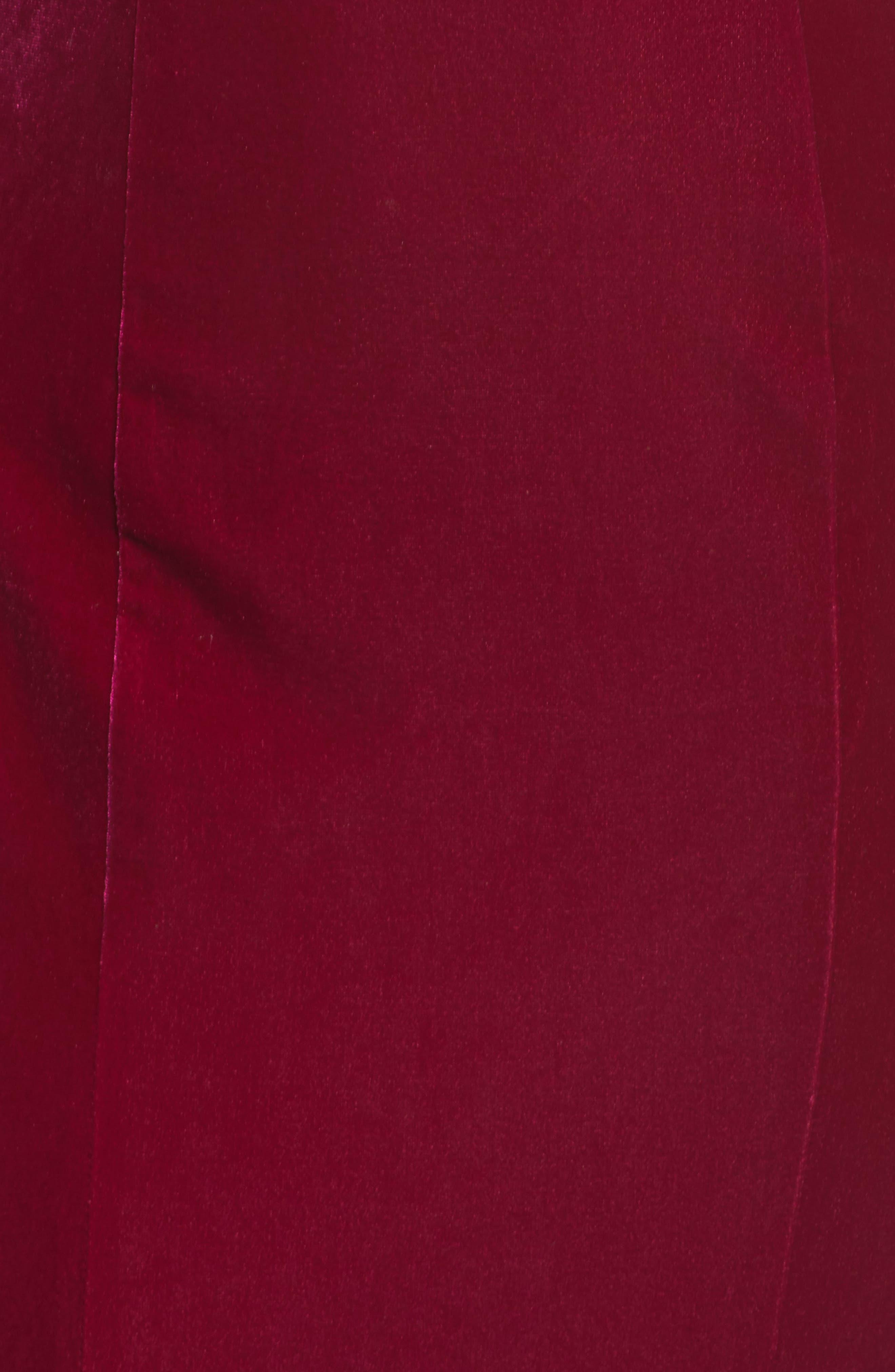 Alternate Image 5  - La Femme Crisscross Back Velvet Gown